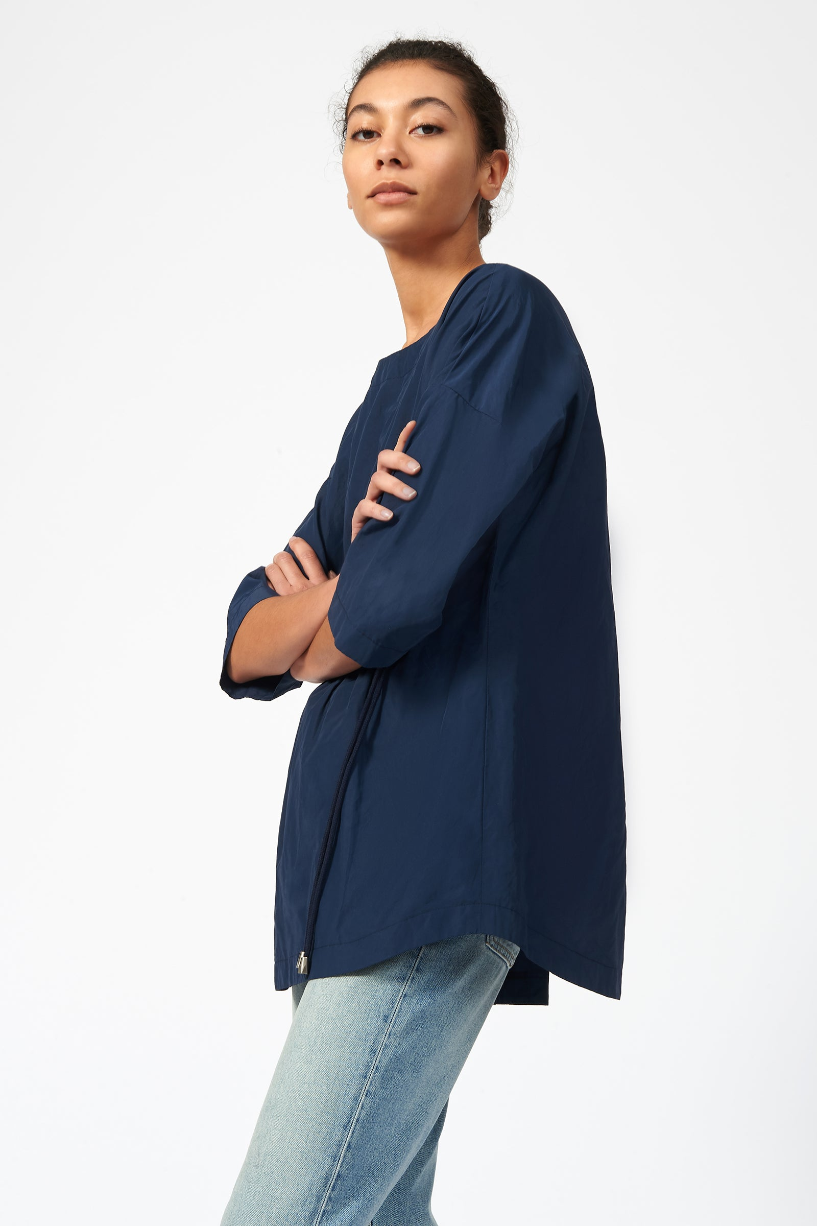 Kal Rieman Cinch Front Pullover in Navy on Model Side View