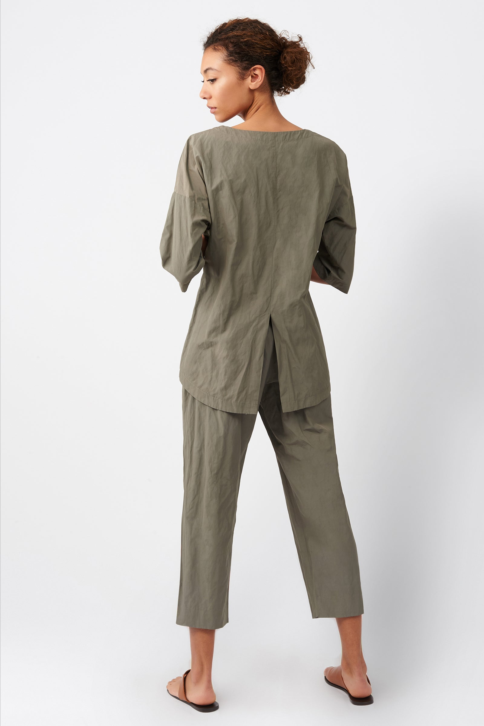 Kal Rieman Cinch Front Pullover in Olive on Model Full Back View