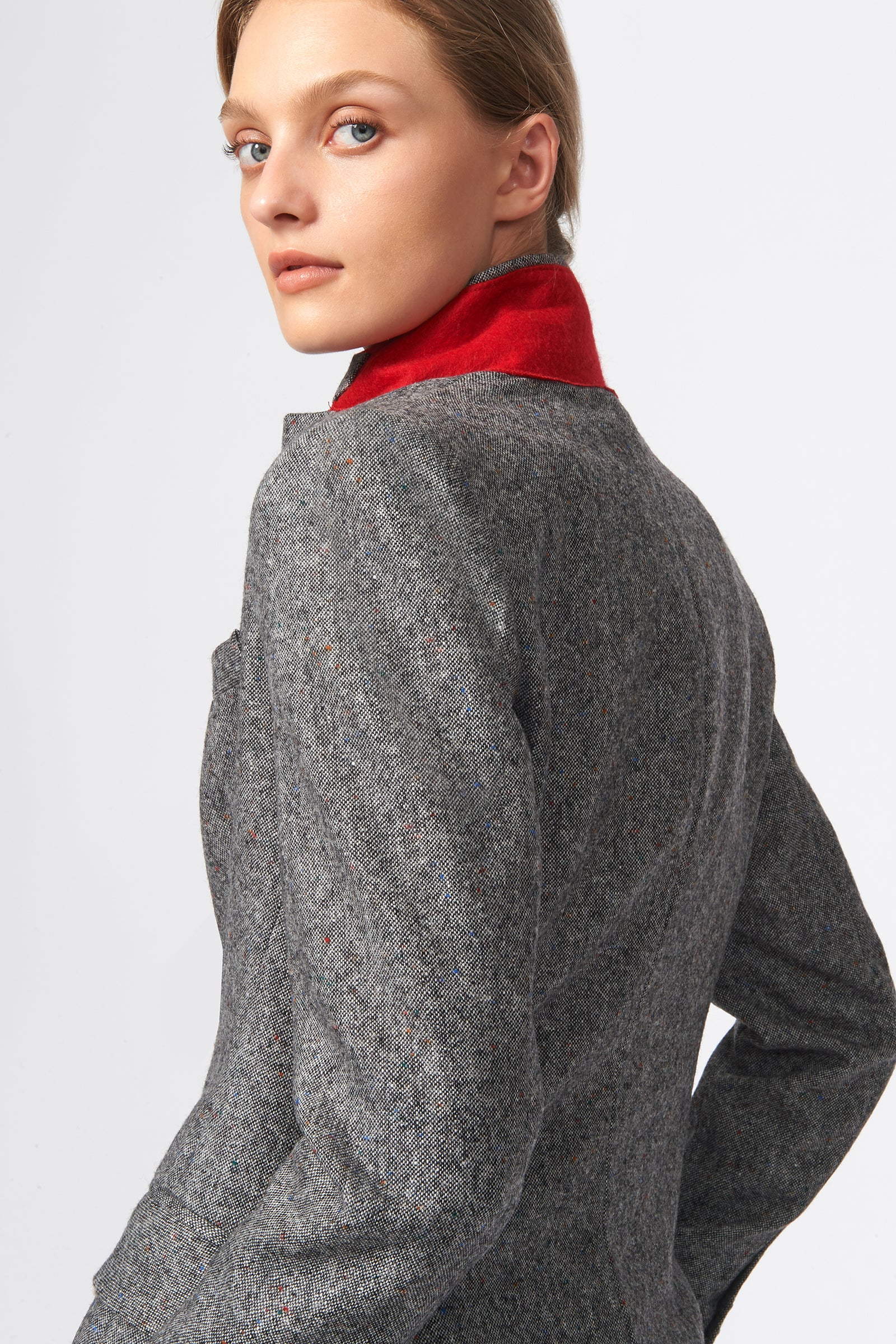 Kal Rieman Classic Notch Blazer in Grey Tweed on Model Back Detail  View