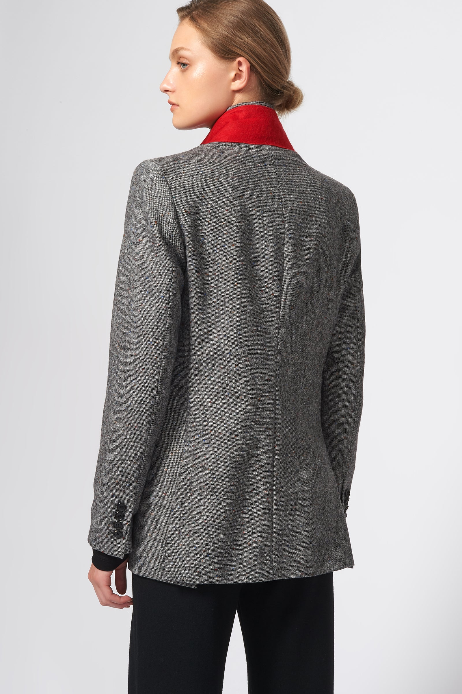 Kal Rieman Classic Notch Blazer in Grey Tweed on Model Back View