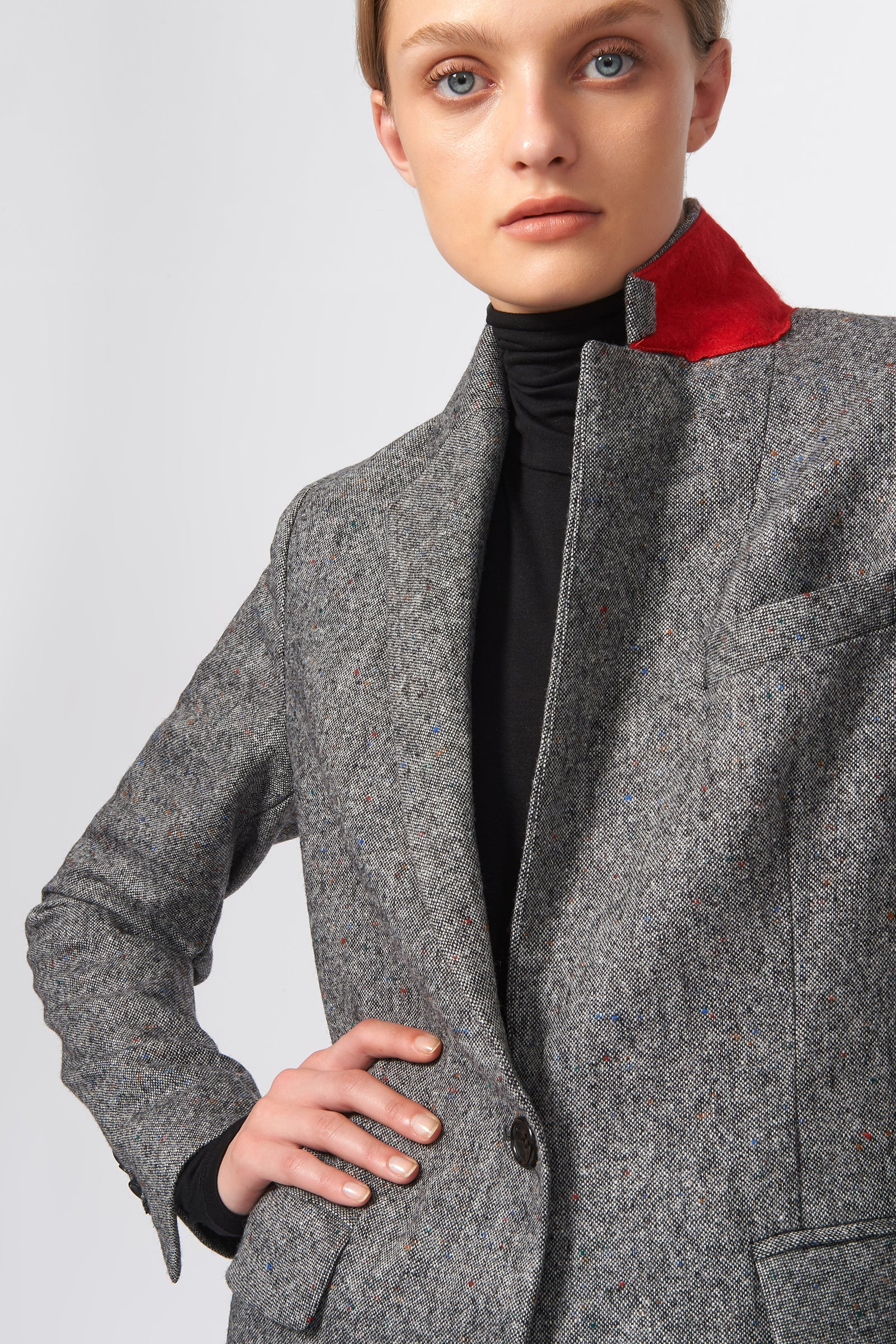 Kal Rieman Classic Notch Blazer in Grey Tweed on Model Front Detail View