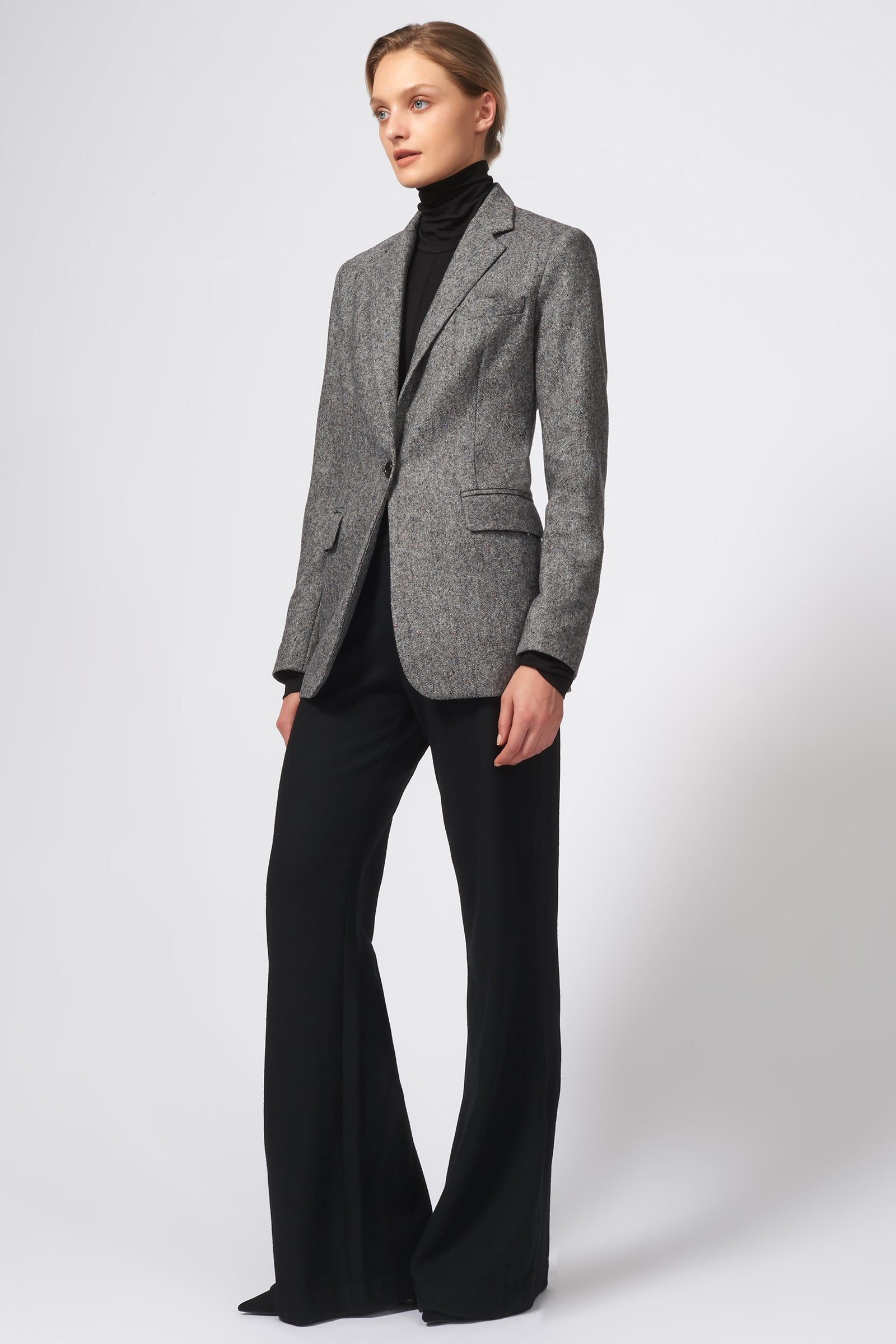 Kal Rieman Classic Notch Blazer in Grey Tweed on Model Front Full View