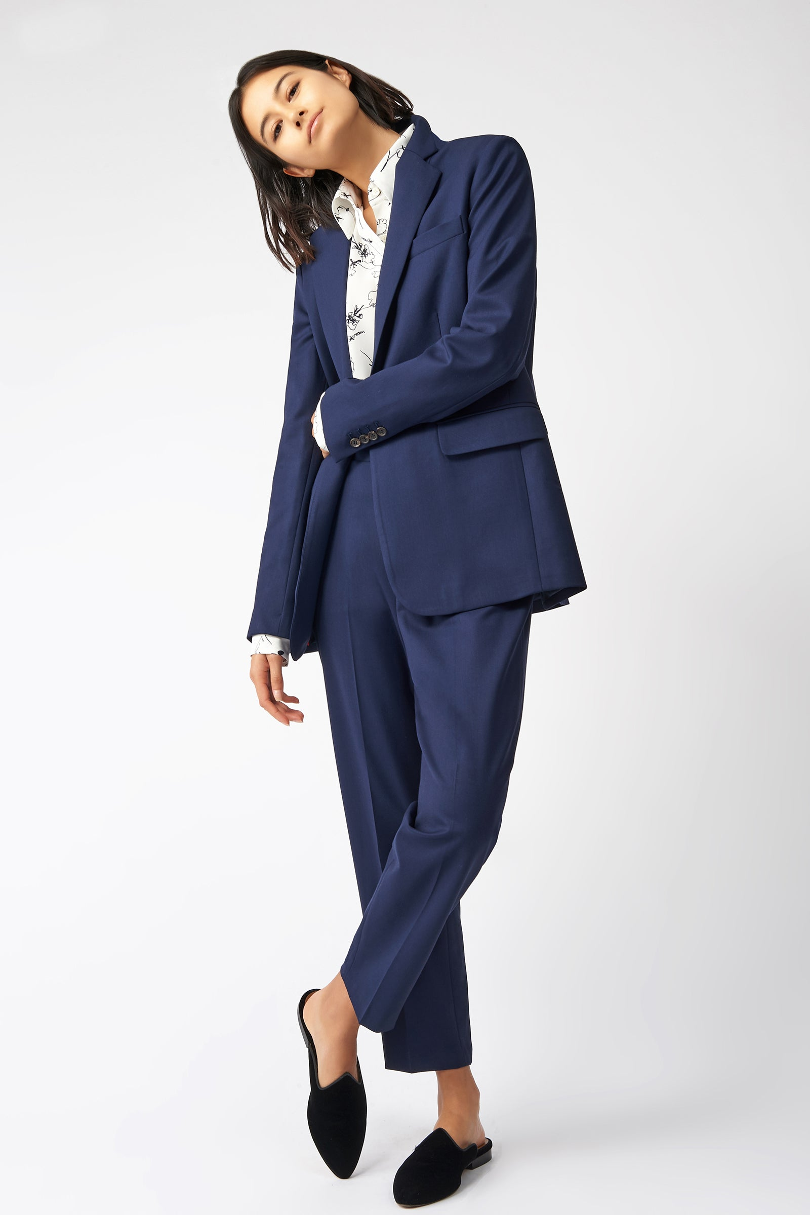 Kal Rieman Classic Notch Blazer in Navy on Model Full Front View