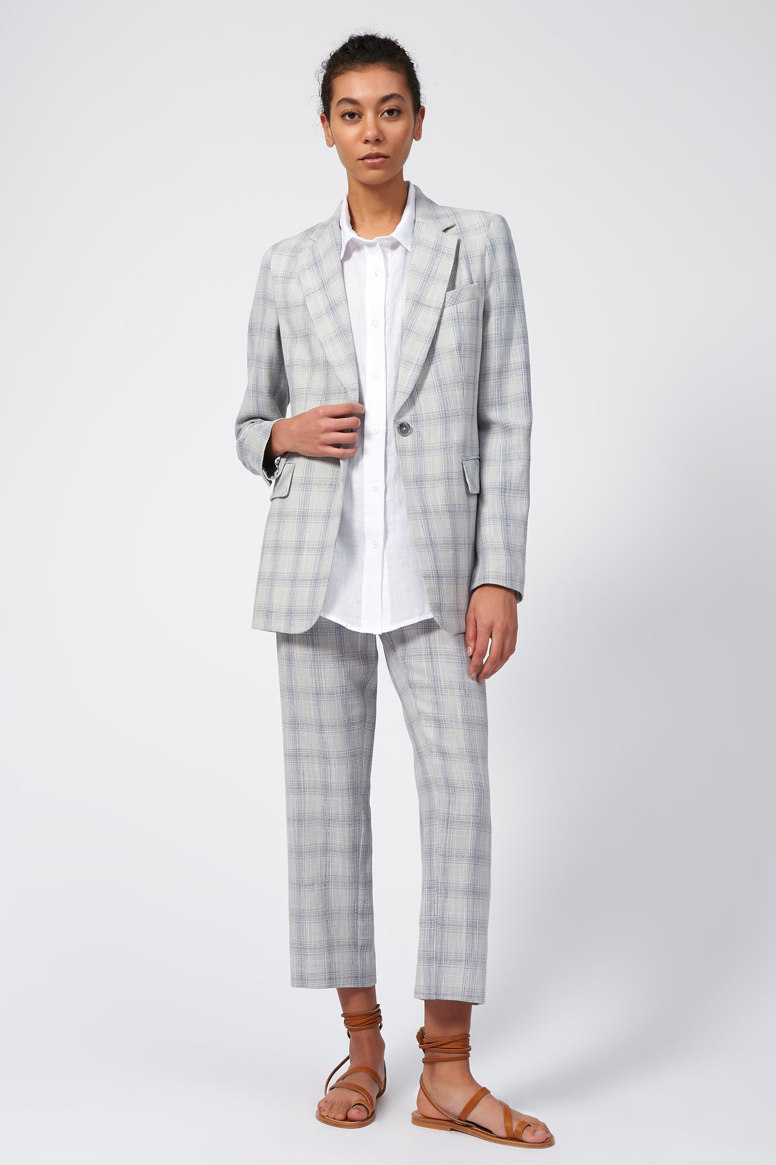 Kal Rieman Classic Notch Blazer in Glen Plaid on Model Full Front View