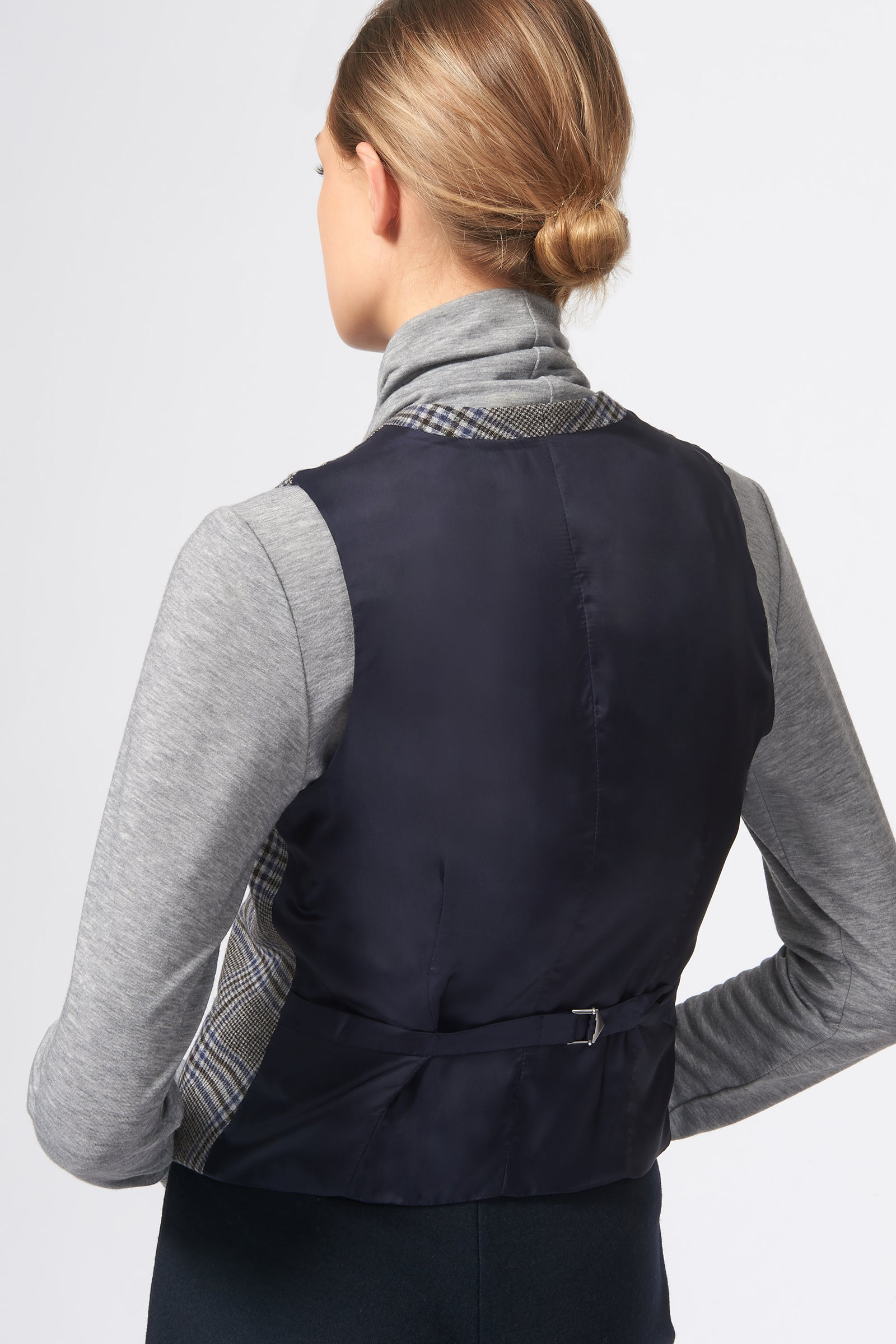 Kal Rieman Classic Tailored Vest in Grey Plaid on Model Back View