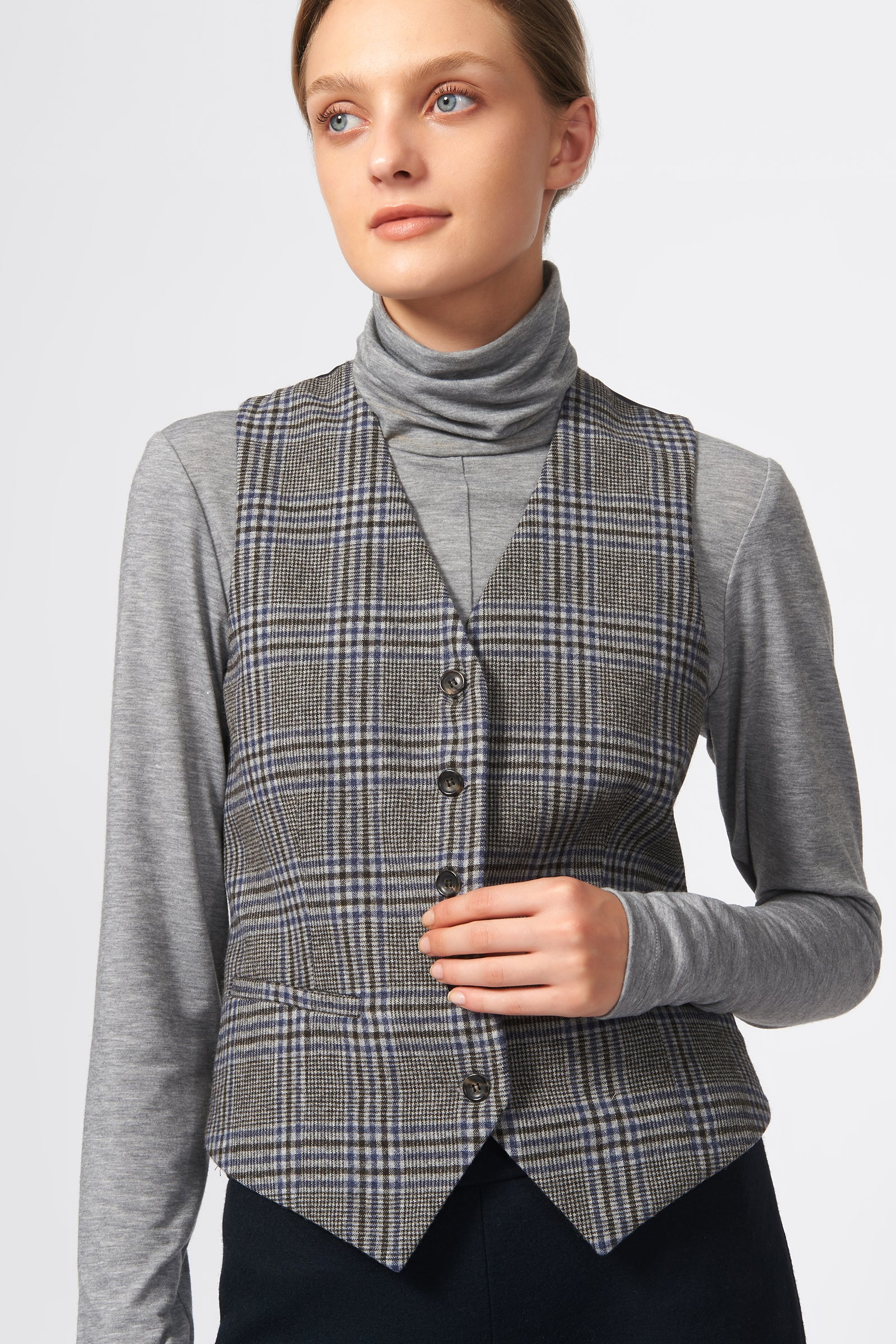 Kal Rieman Classic Tailored Vest in Grey Plaid on Model Front View