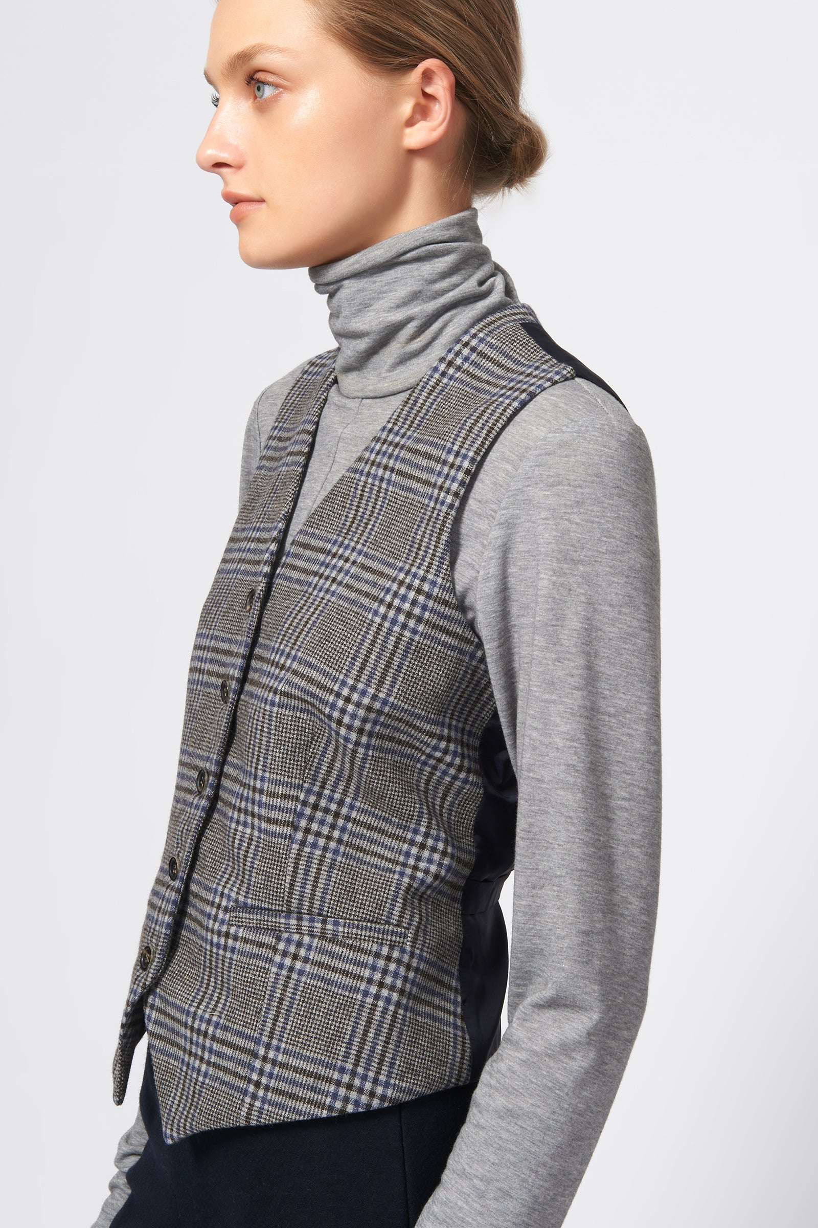 Kal Rieman Classic Tailored Vest in Grey Plaid on Model Side View