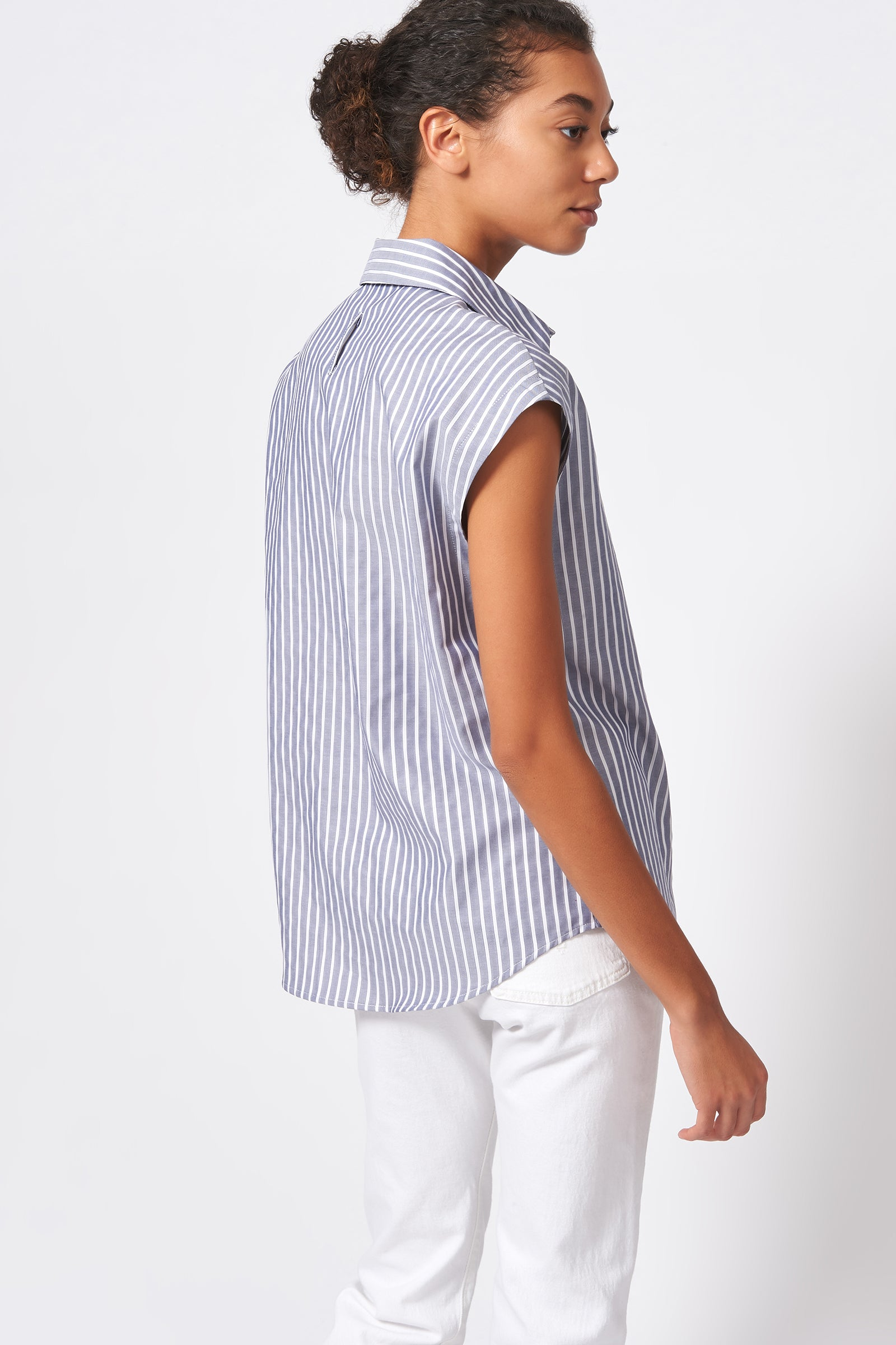 Kal Rieman Collared Cap Sleeve Shirt in Oxford Stripe on Model Back View