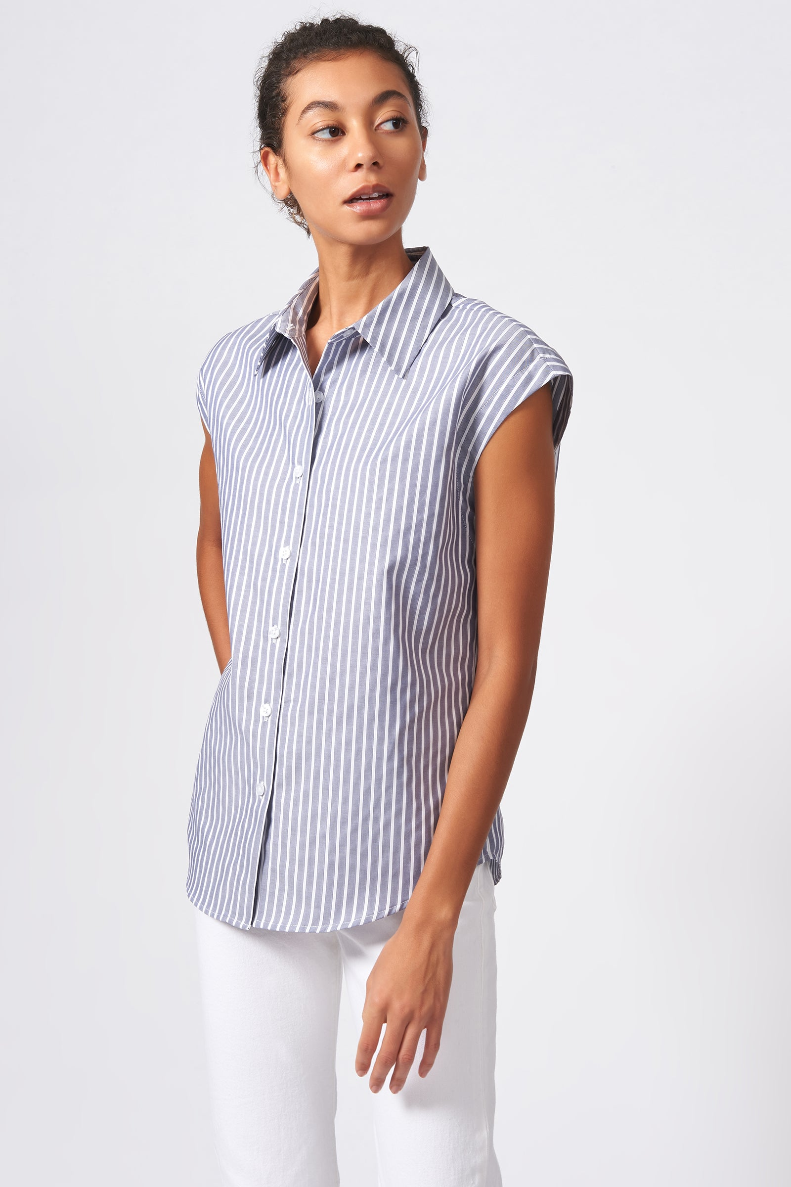 Kal Rieman Collared Cap Sleeve Shirt in Oxford Stripe on Model Front Side View