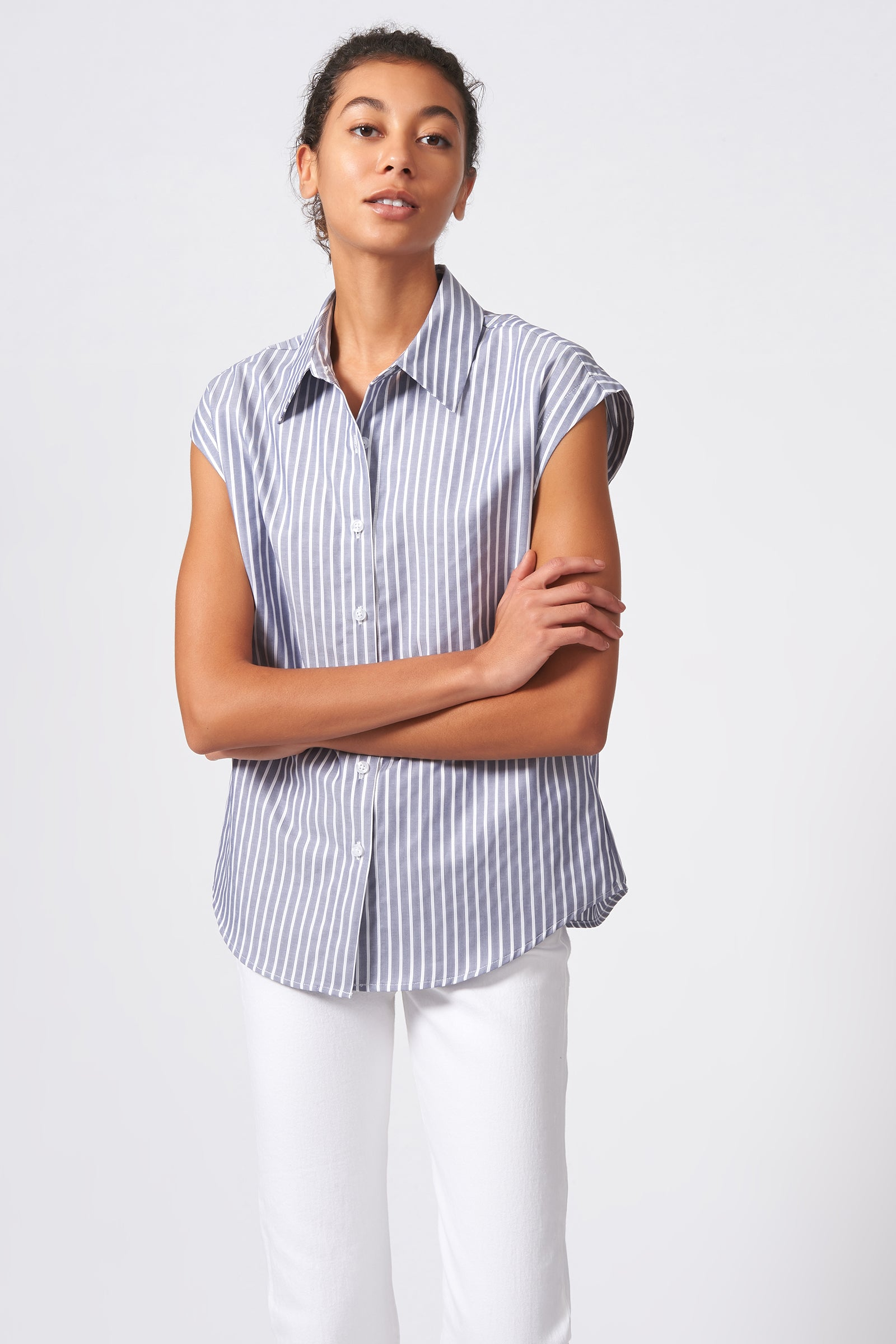 Kal Rieman Collared Cap Sleeve Shirt in Oxford Stripe on Model Front View