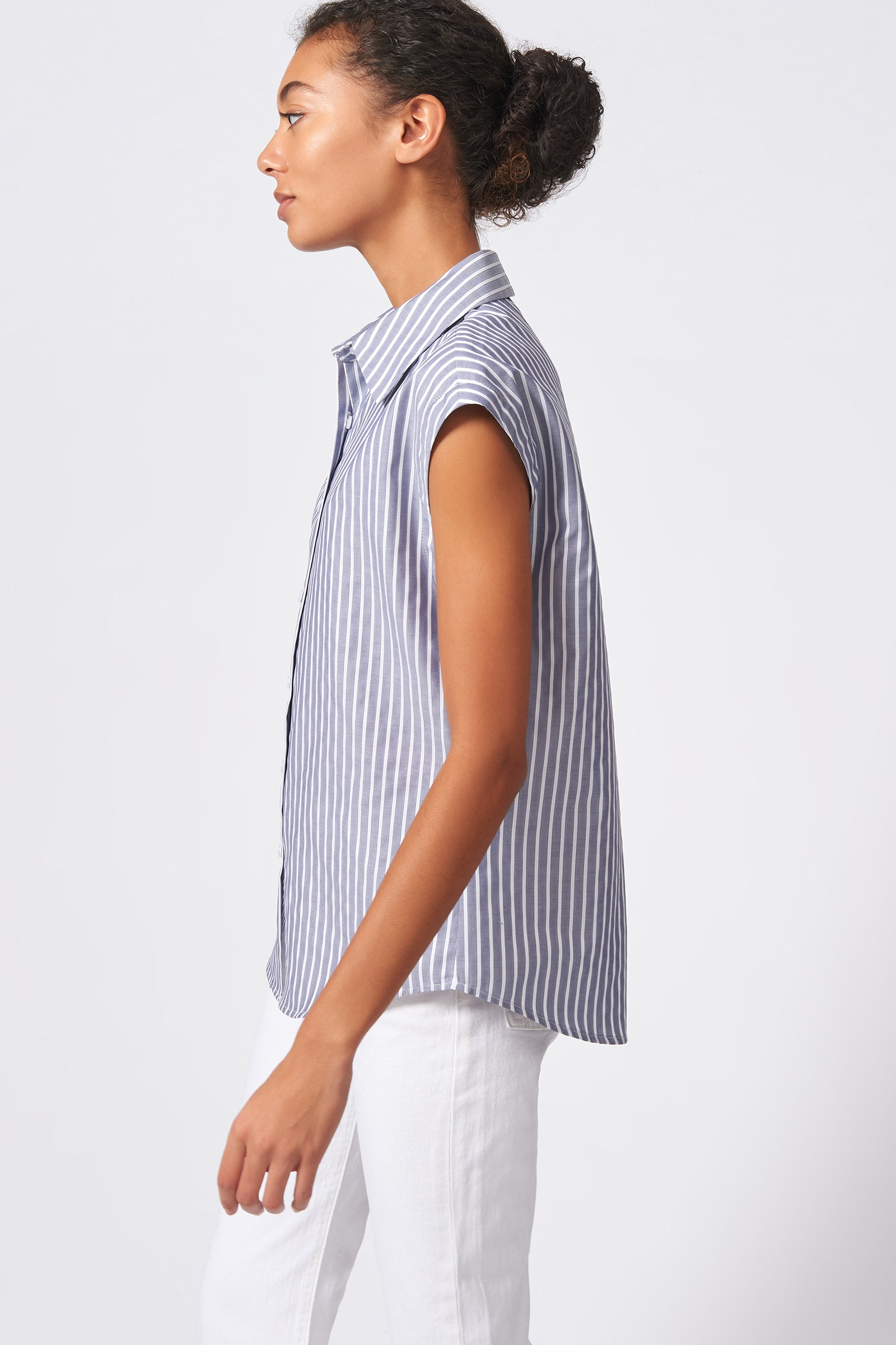 Kal Rieman Collared Cap Sleeve Shirt in Oxford Stripe on Model Side View