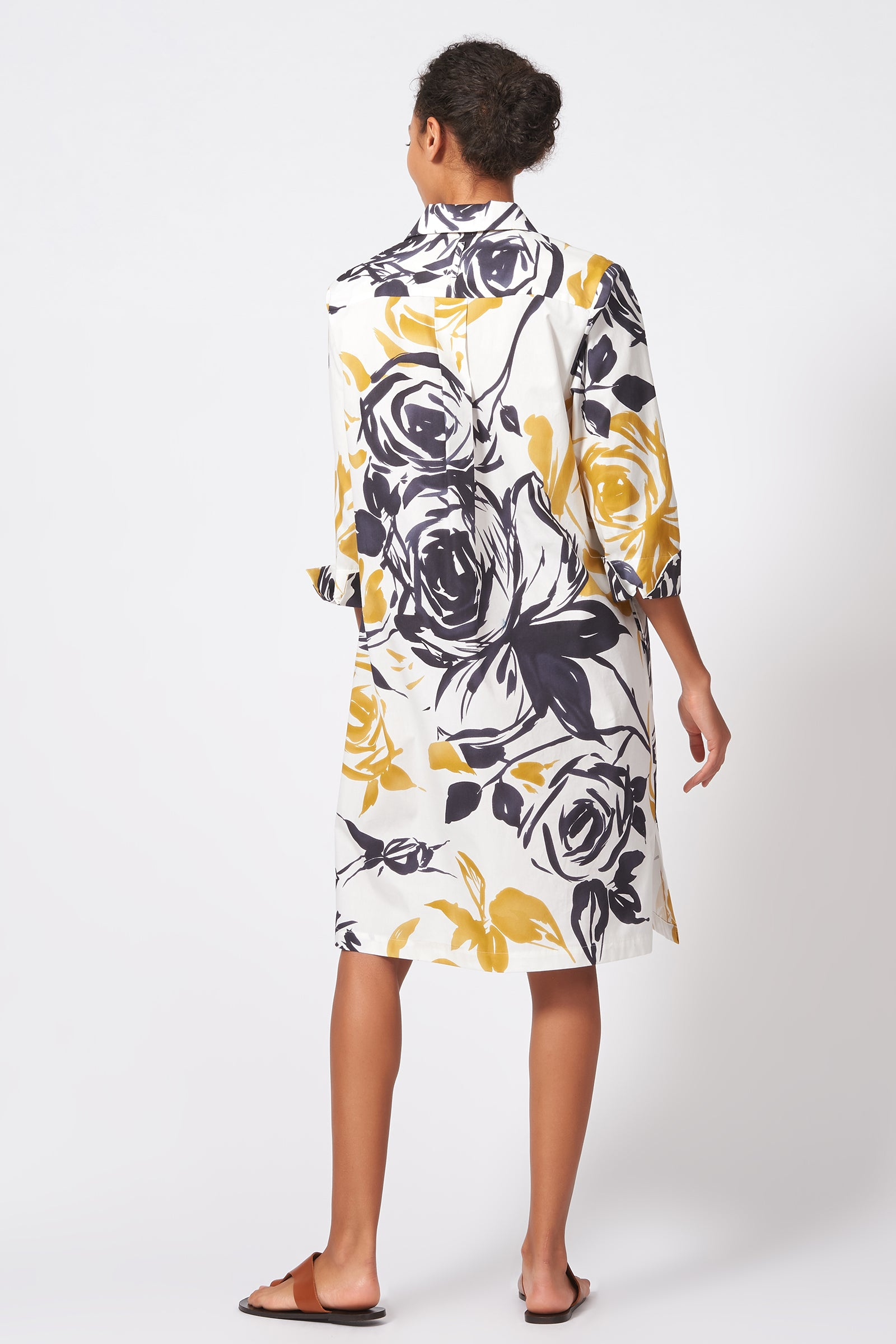 Kal Rieman Collared V Neck Dress in Floral on Model Side View