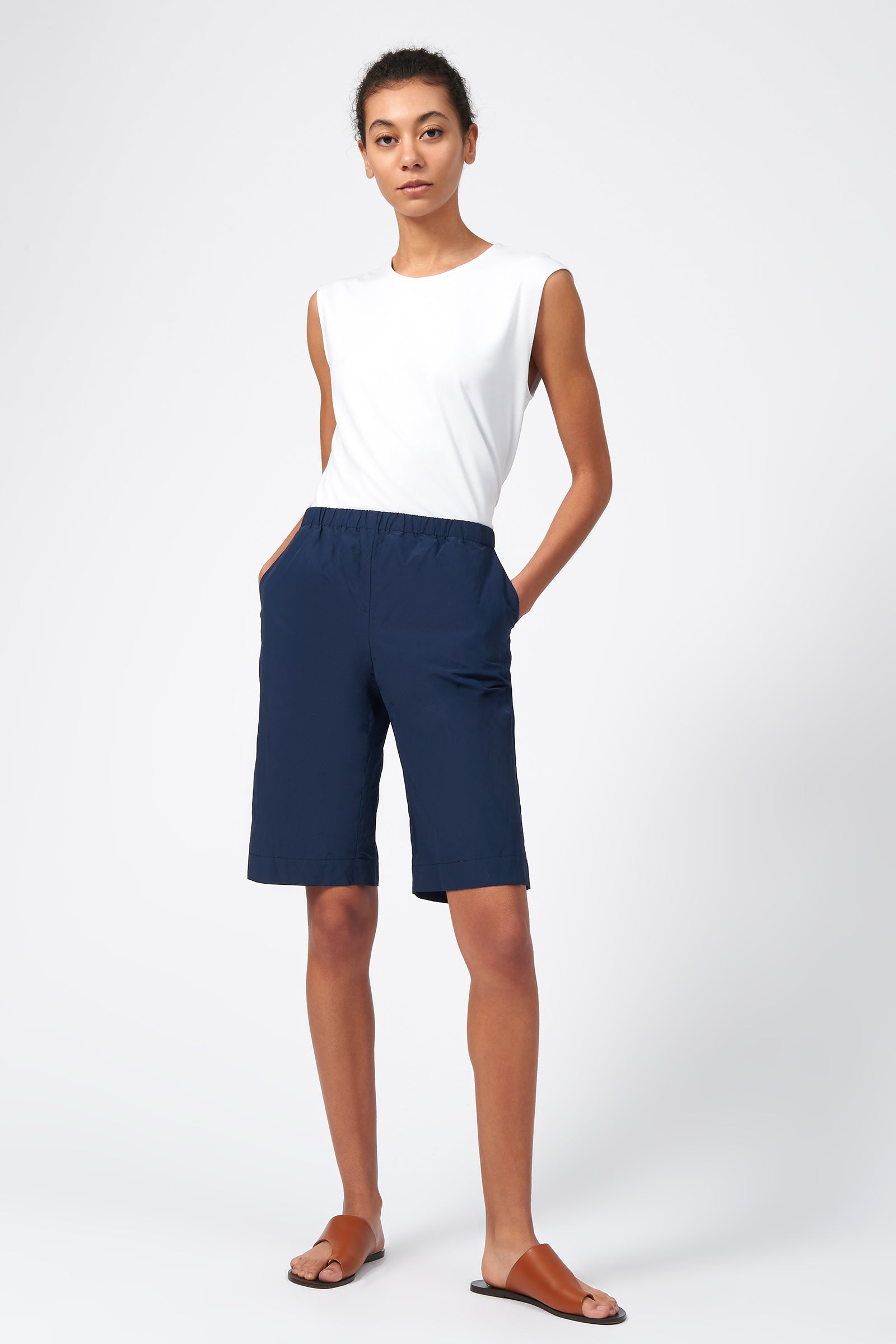 Kal Rieman Cotton Nylon Bermuda in Navy on Model Full Front View
