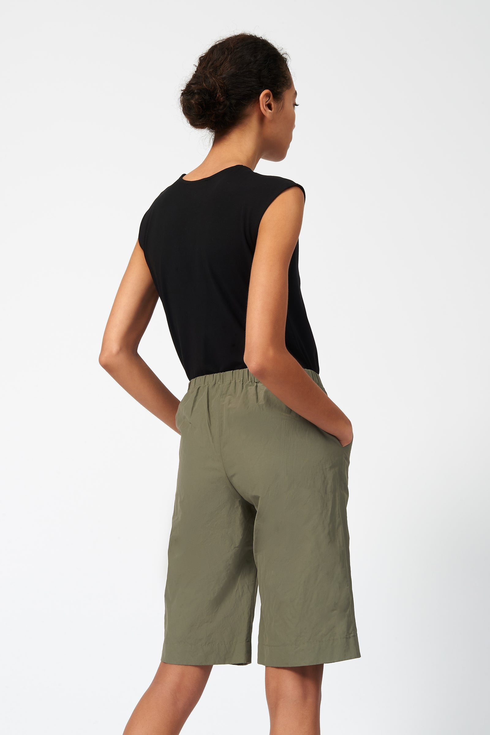 Kal Rieman Cotton Nylon Bermuda in Olive on Model Back View