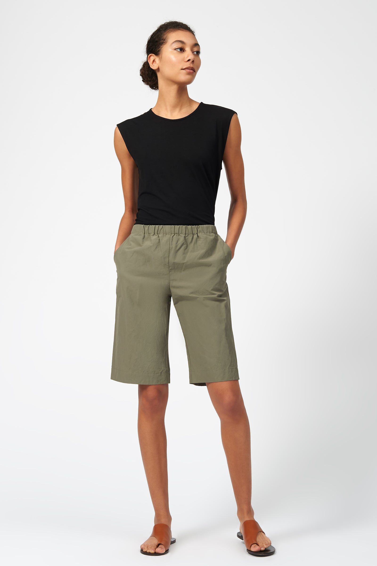 Kal Rieman Cotton Nylon Bermuda in Olive on Model Front View