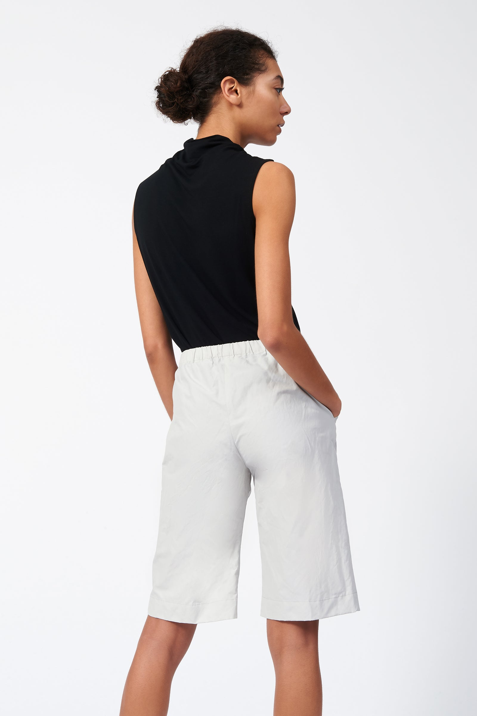 Kal Rieman Cotton Nylon Bermuda in Stone on Model Back View
