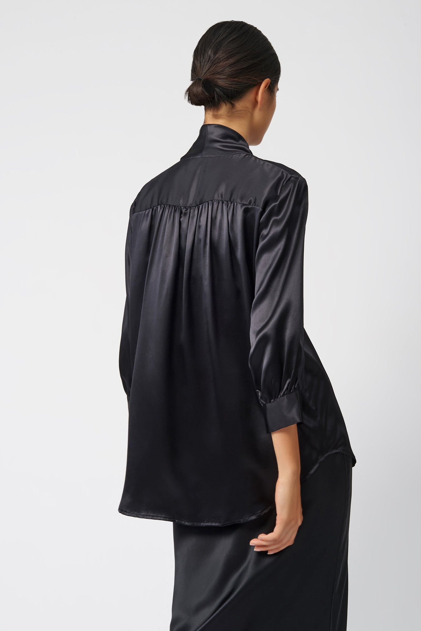 Kal RIeman Cowl Neck 3/4 Sleeve in Black on Model Back View