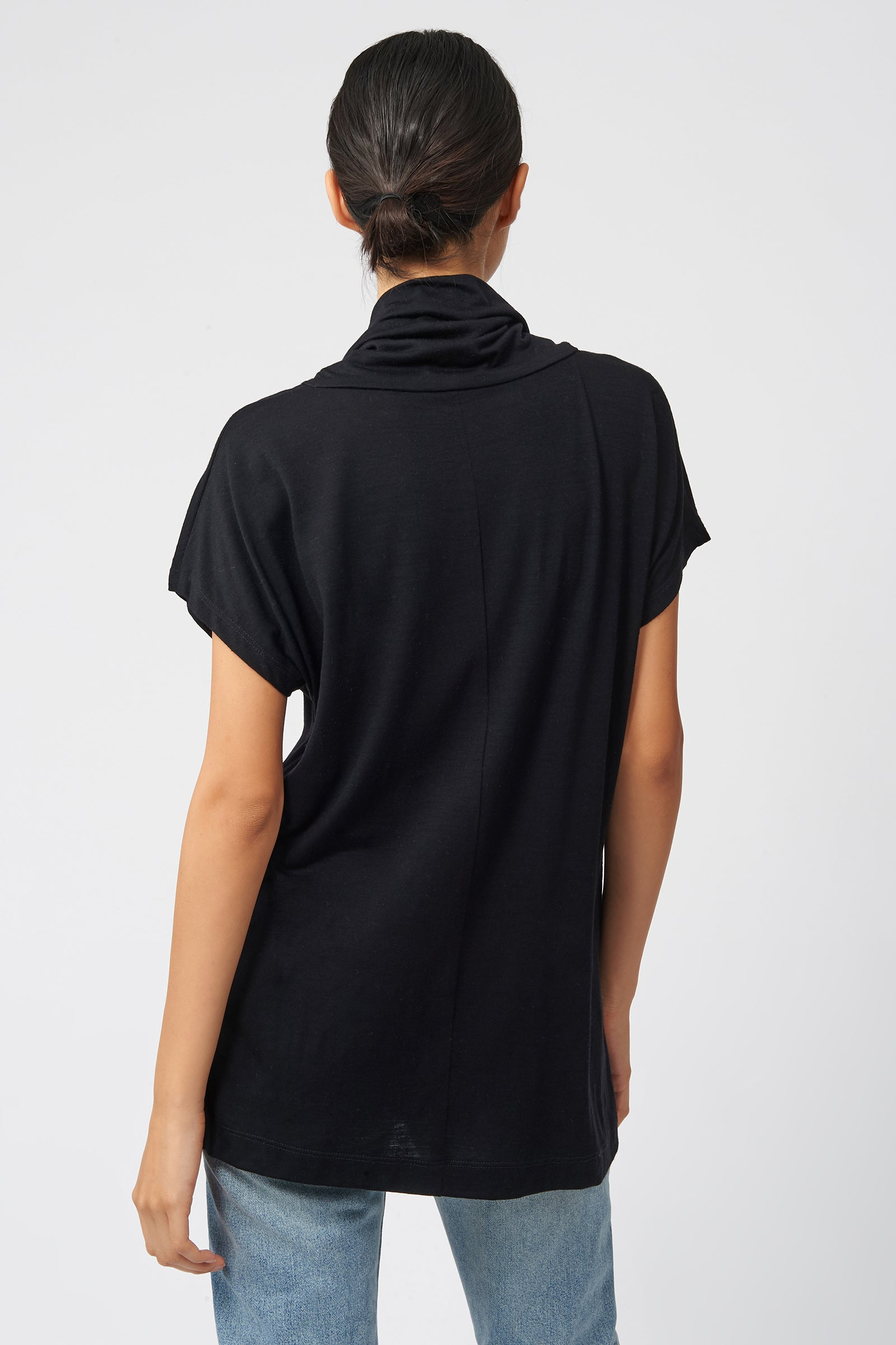 Kal Rieman Cowel Neck Seam Tee in Black on Model Front View