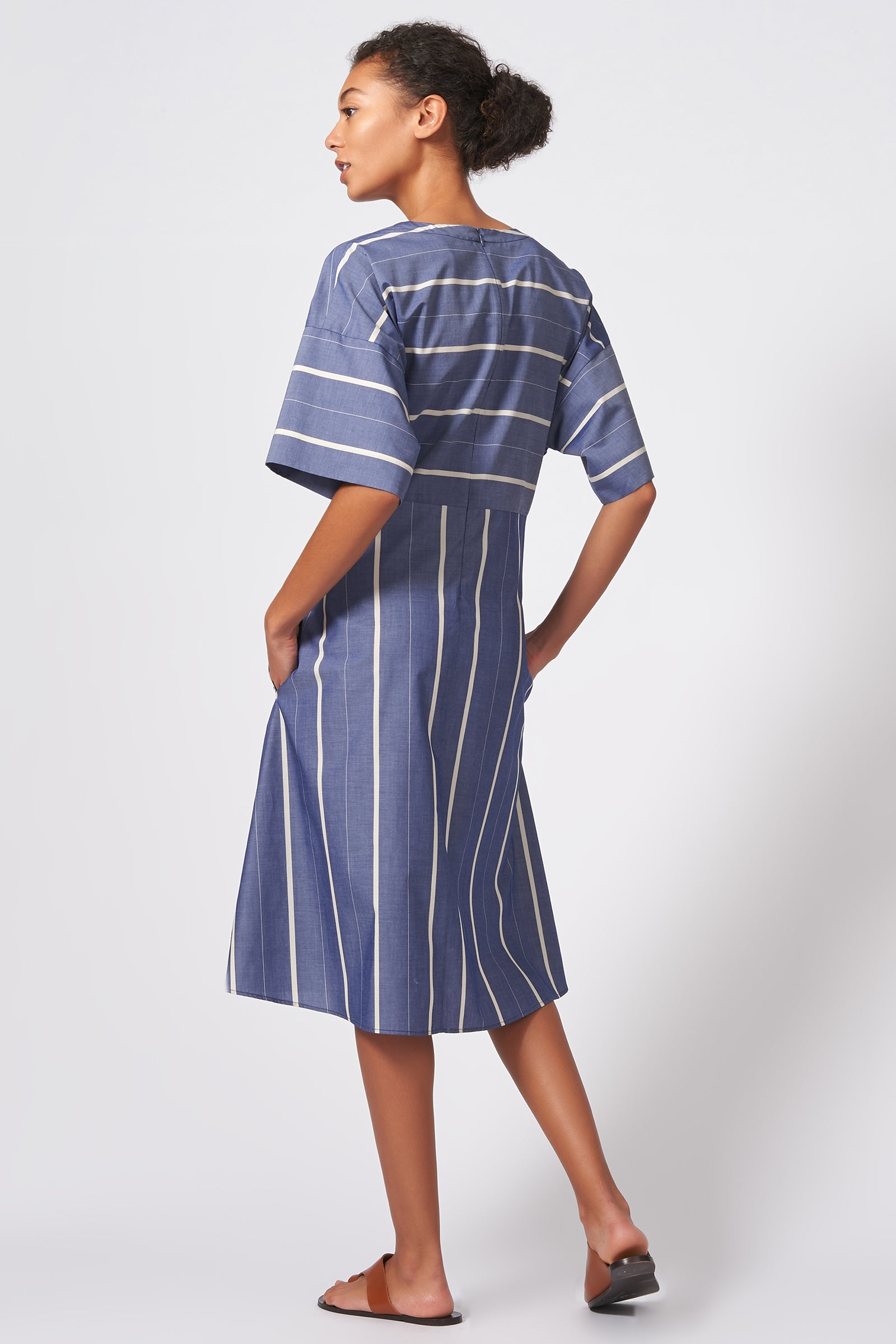 Kal Rieman Cross Front Dress in Chambray Stripe on Model Front View