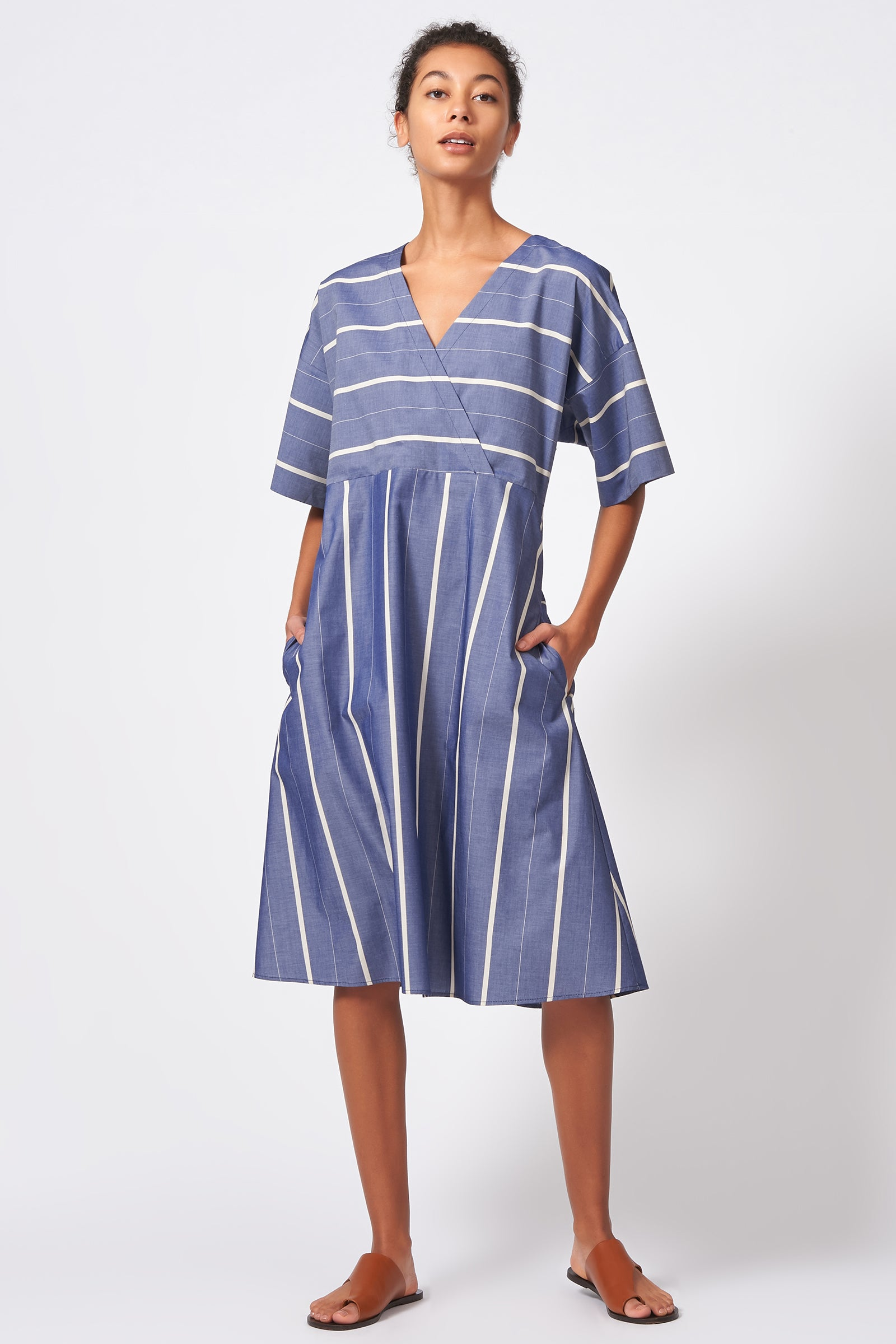 Kal Rieman Cross Front Dress in Chambray Stripe on Model Front Full View