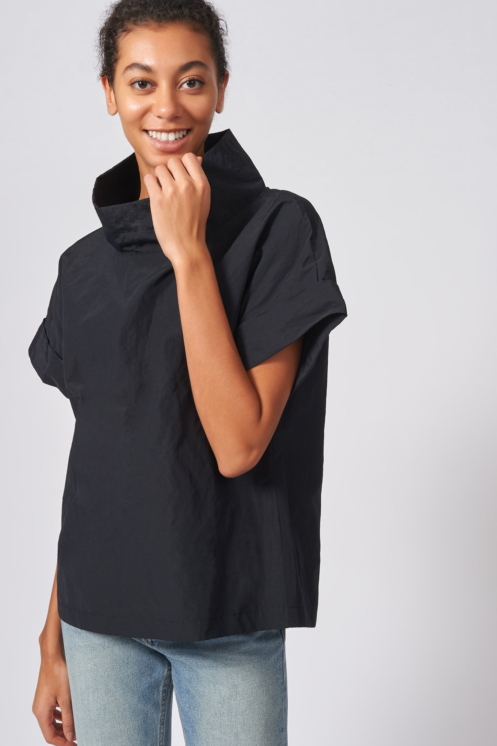 Kal Rieman Cuffed Kimono Tee in Black Cotton Nylon on Model Front View