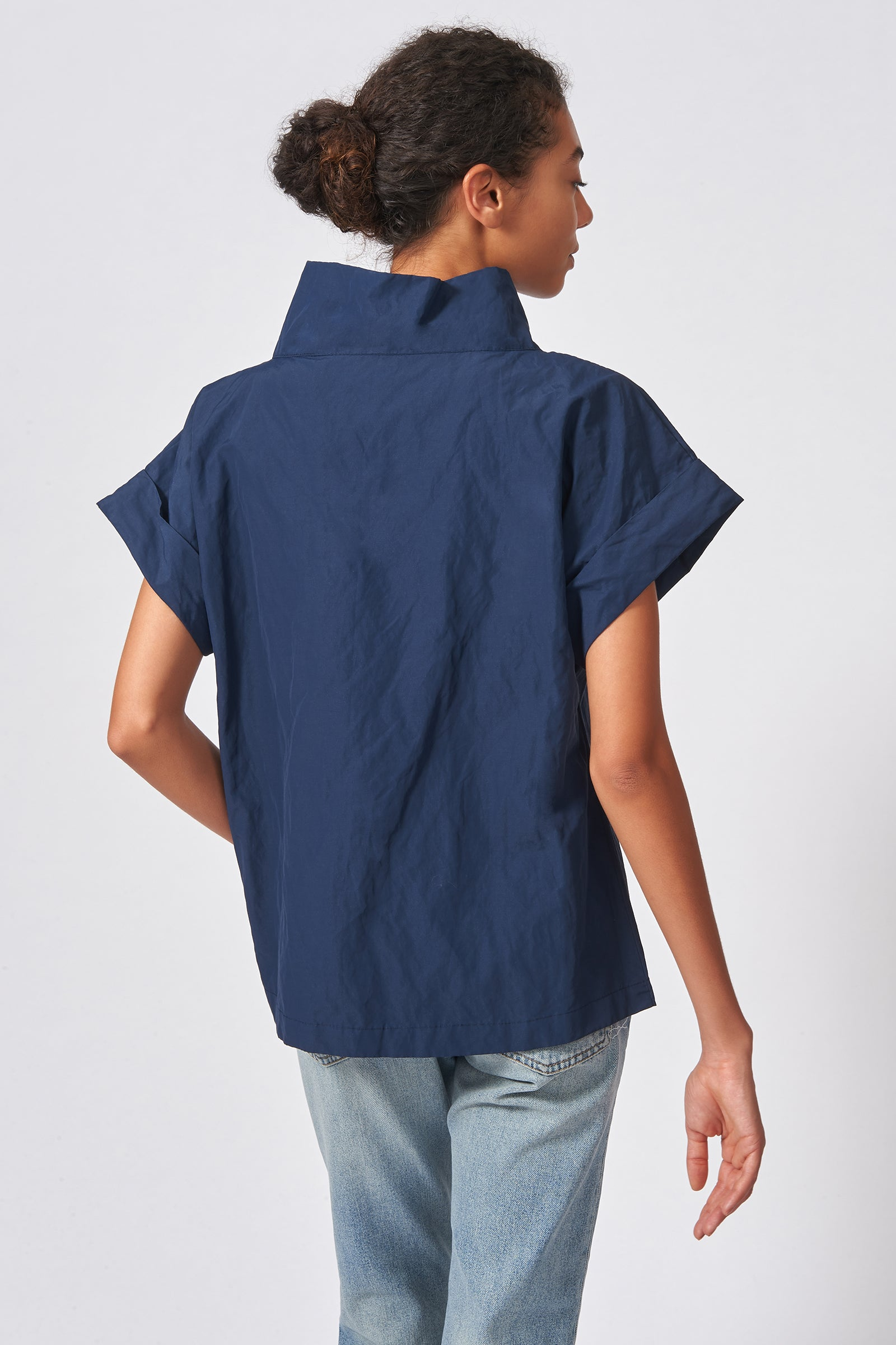 Kal Rieman Cuffed Kimono Tee in Navy Cotton Nylon on Model Front Side View