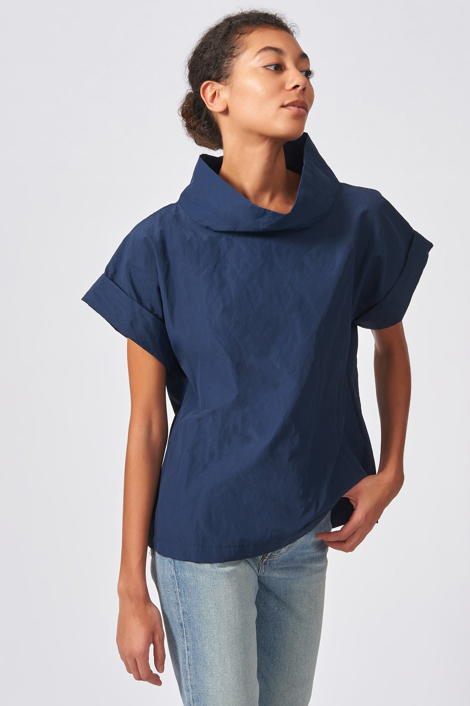 Kal Rieman Cuffed Kimono Tee in Navy Cotton Nylon on Model Front View