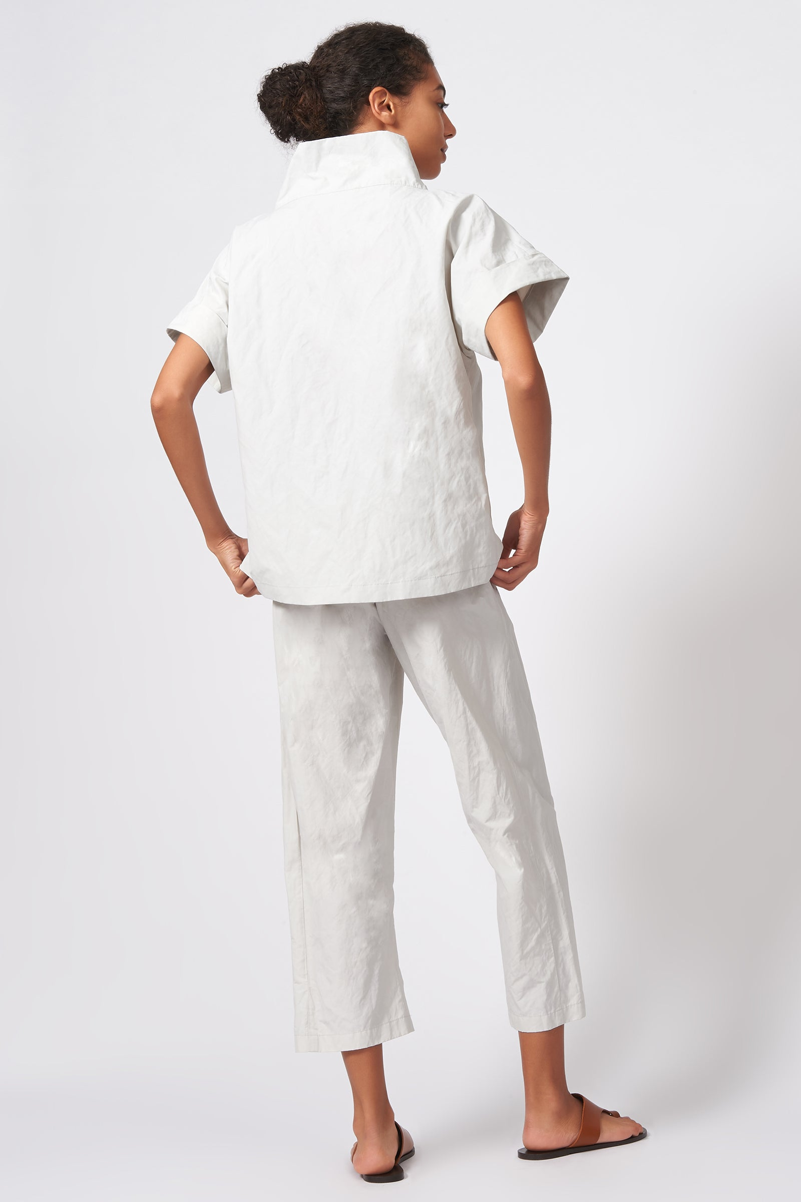 Kal Rieman Cuffed Kimono Tee in Stone Cotton Nylon on Model Front Full View