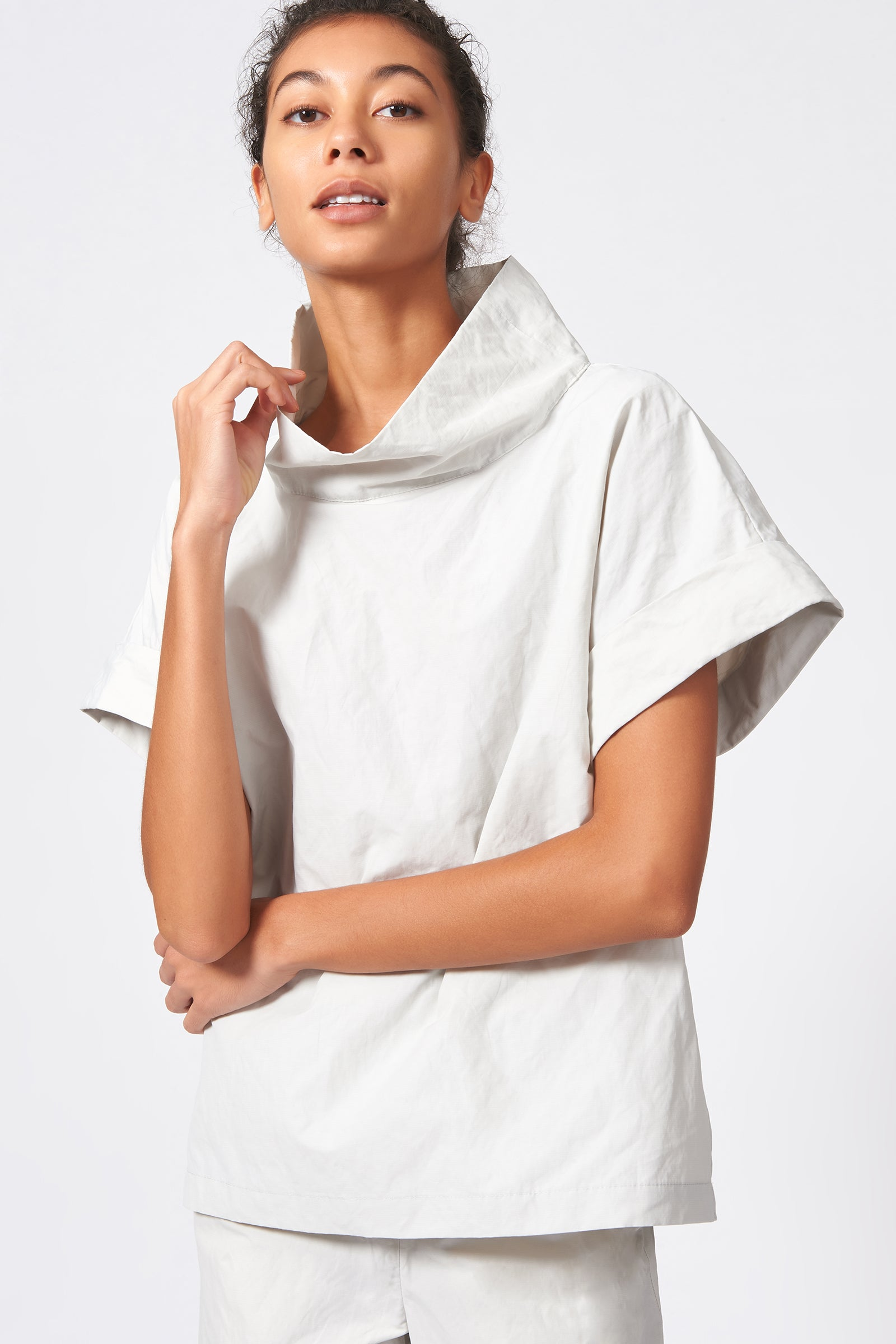 Kal Rieman Cuffed Kimono Tee in Stone Cotton Nylon on Model Front Close-up View
