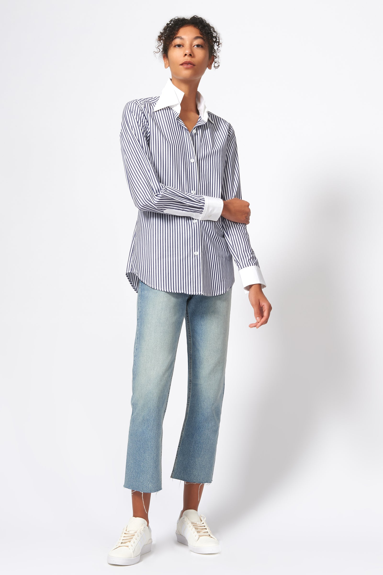 Kal Rieman Double Collar Shirt in Blue and White Stripe Print on Model Full Front