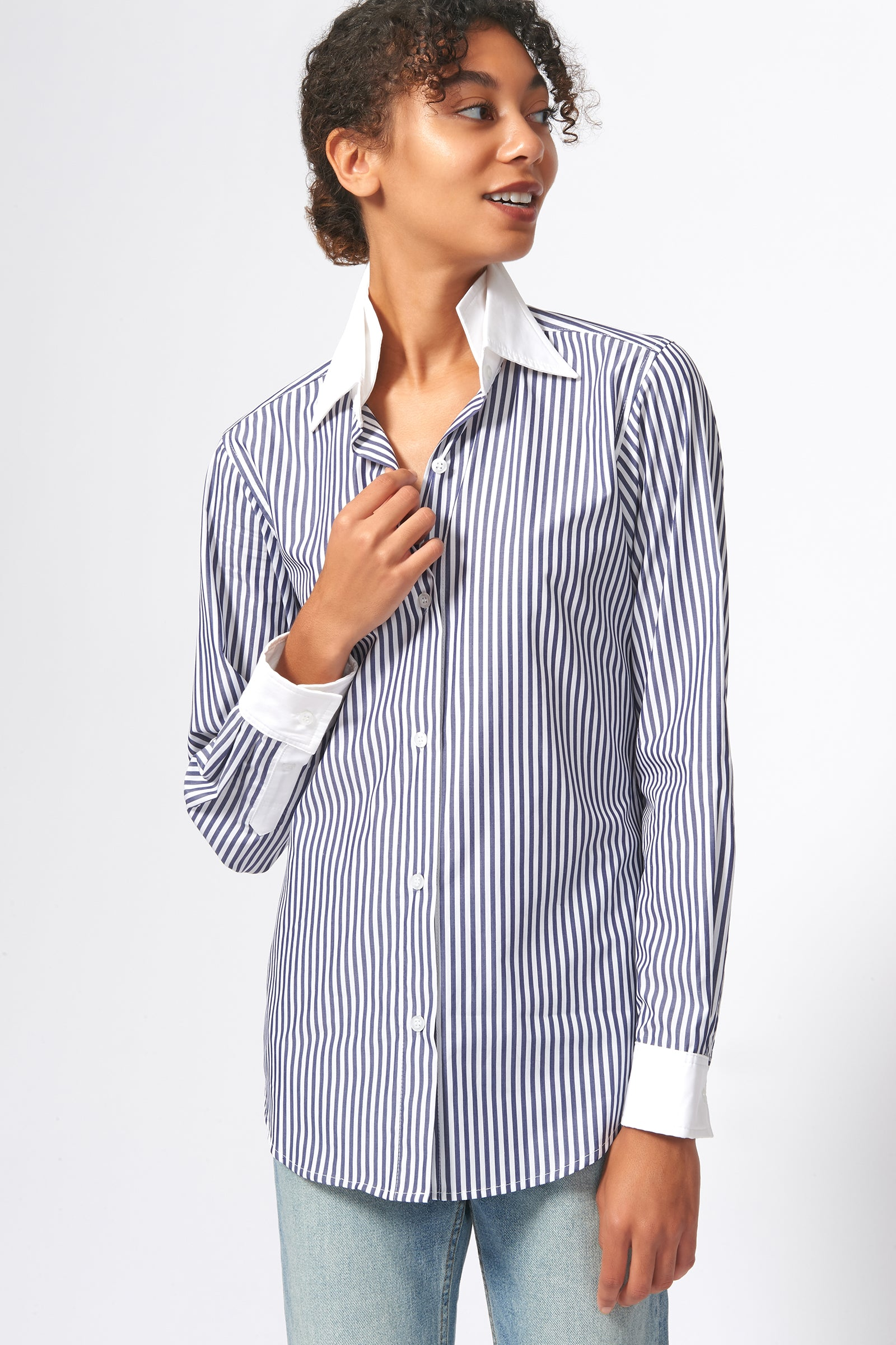 Kal Rieman Double Collar Shirt in Blue and White Stripe Print on Model Front Alternate