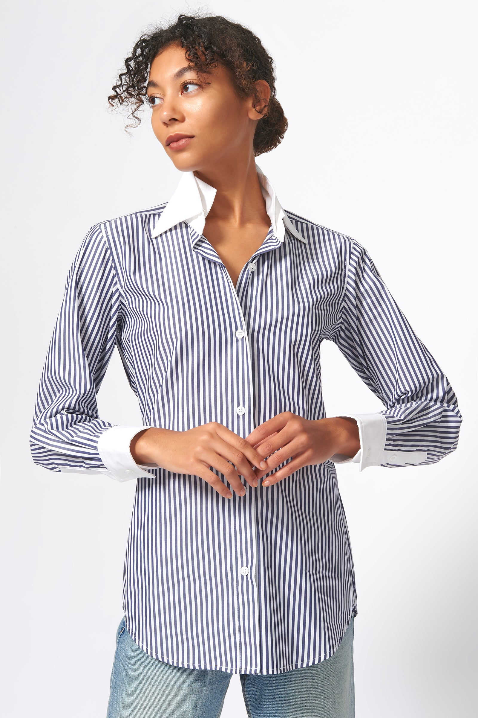 Kal Rieman Double Collar Shirt in Blue and White Stripe Print on Model Front