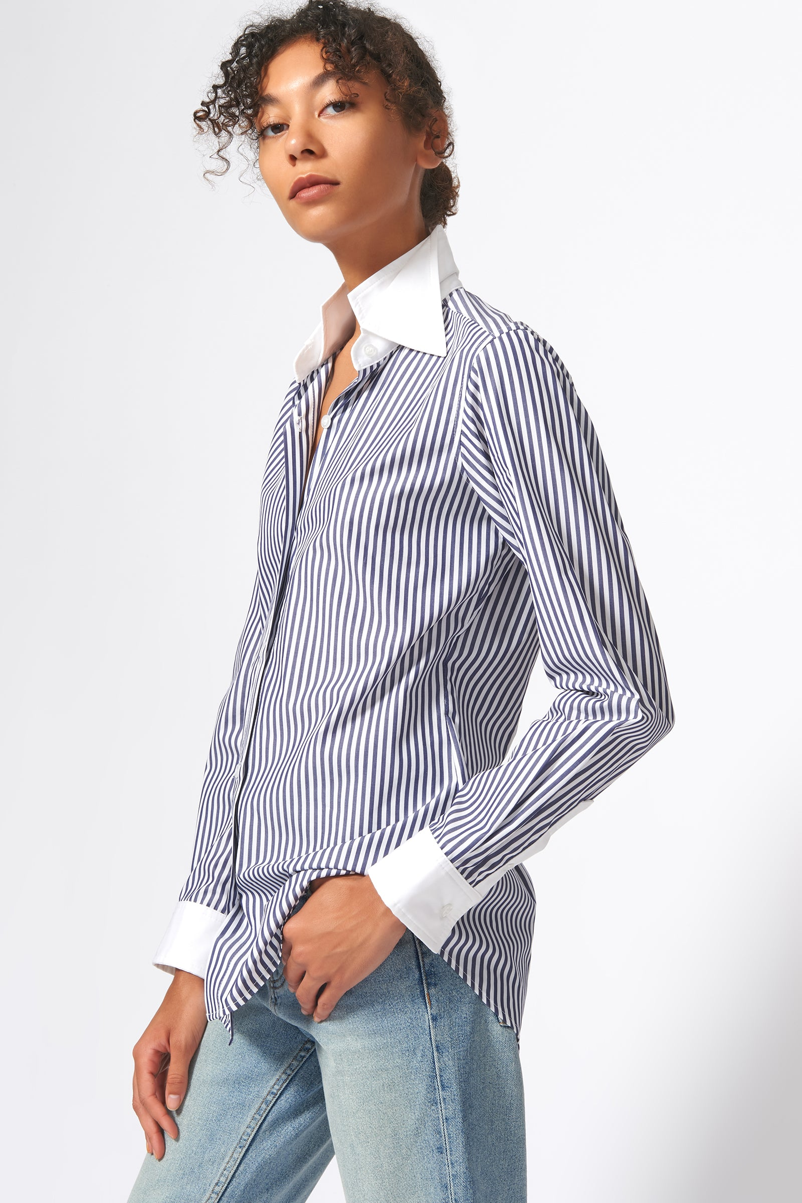 Kal Rieman Double Collar Shirt in Blue and White Stripe Print on Model Side