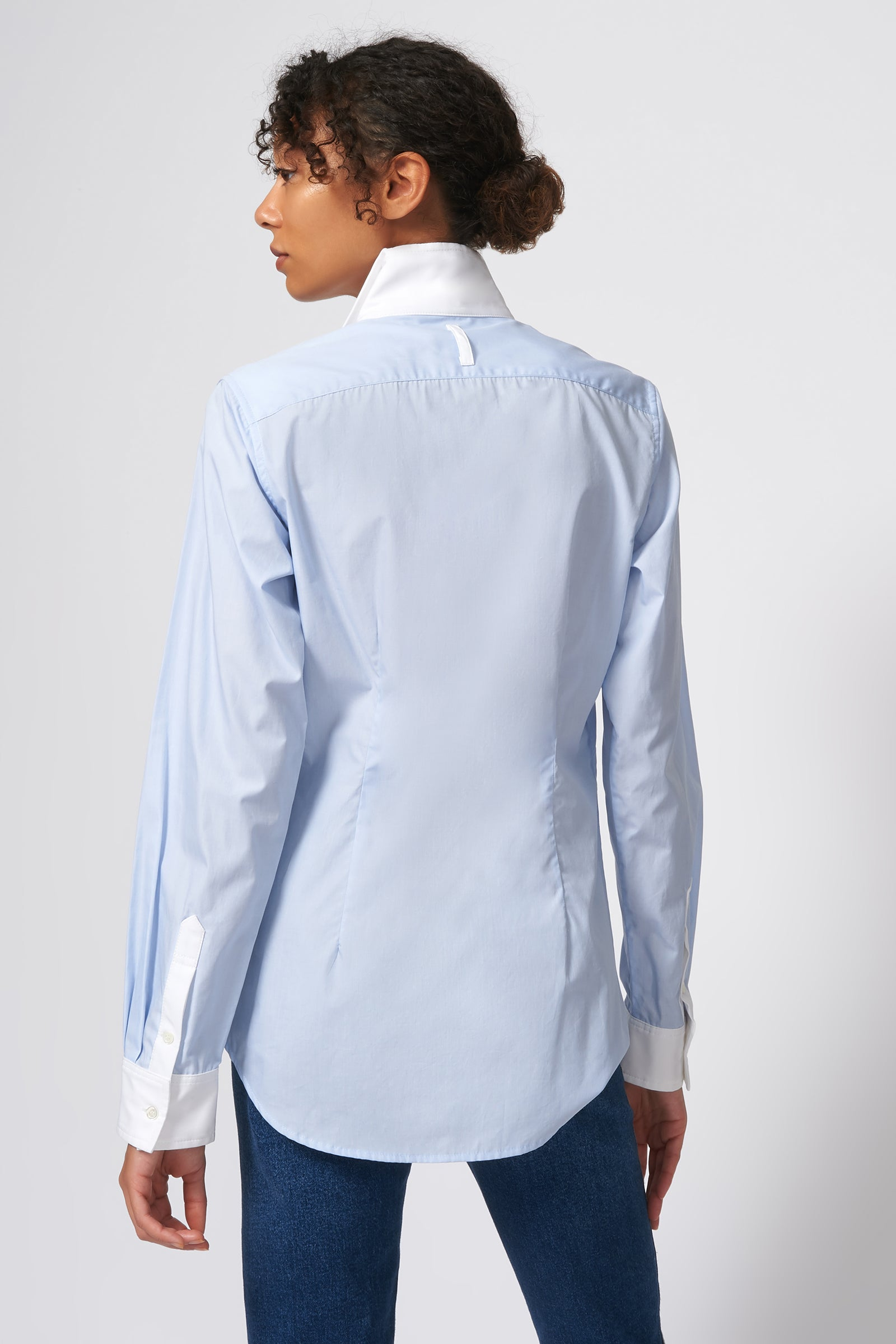Kal Rieman Double Collar Shirt in Oxford Blue with White Poplin on Model Front View