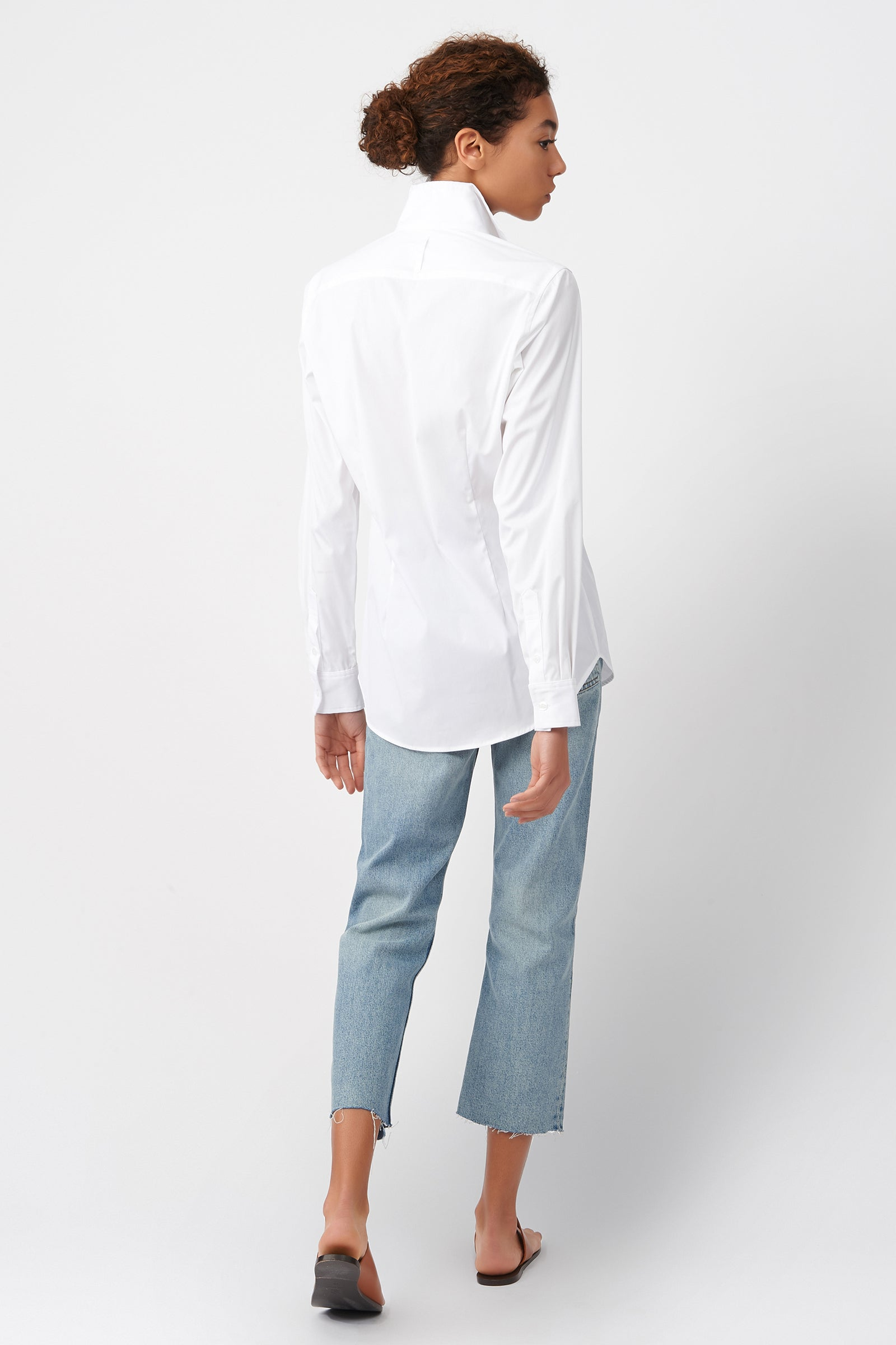 Kal Rieman Double Collar Shirt in White Cotton on Model Back View