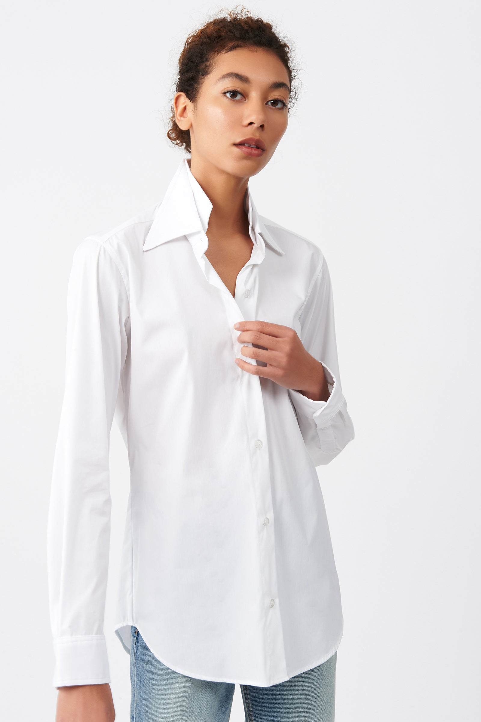 Kal Rieman Double Collar Shirt in White Cotton on Model Front Alternate View