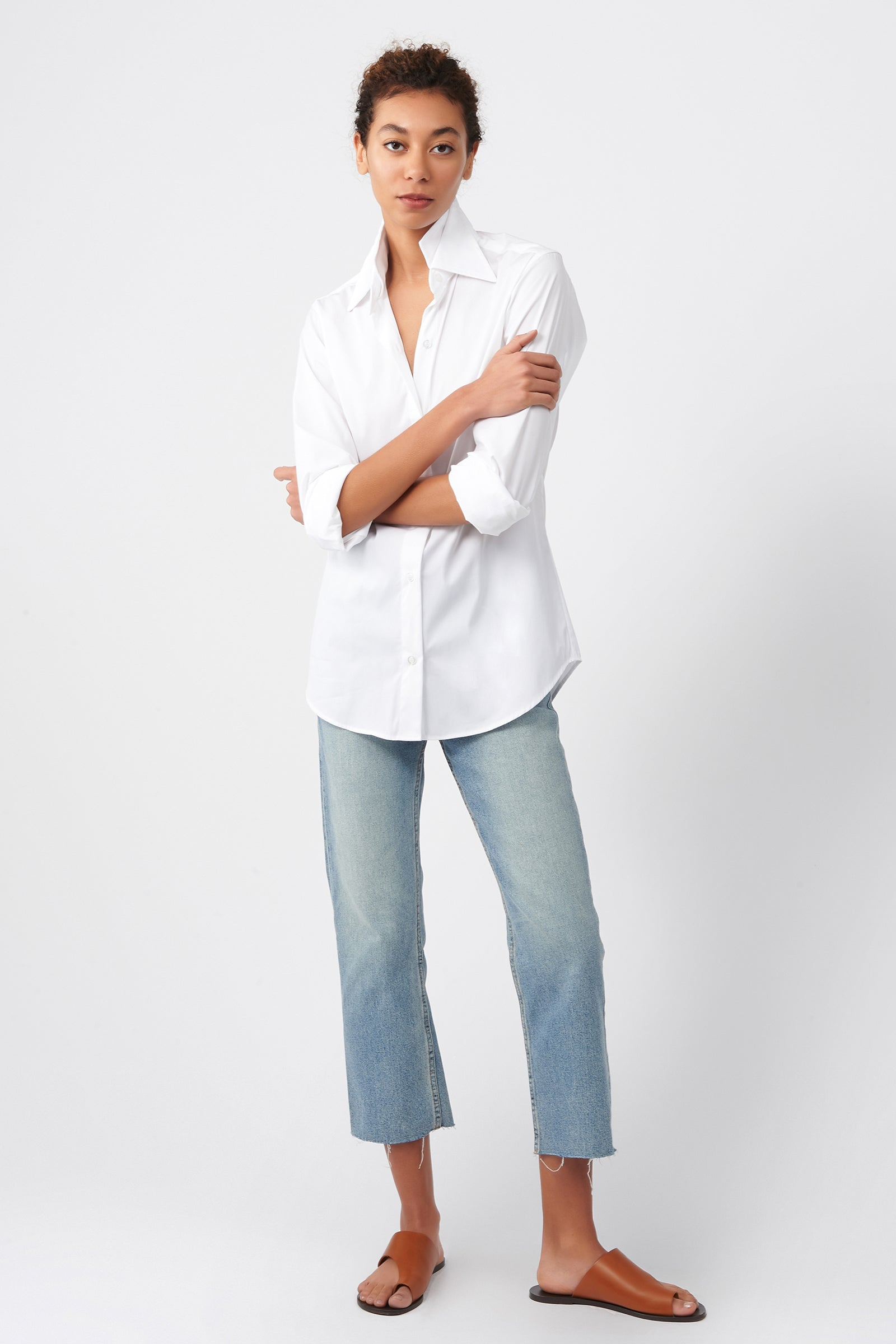 Kal Rieman Double Collar Shirt in White Cotton on Model Front View