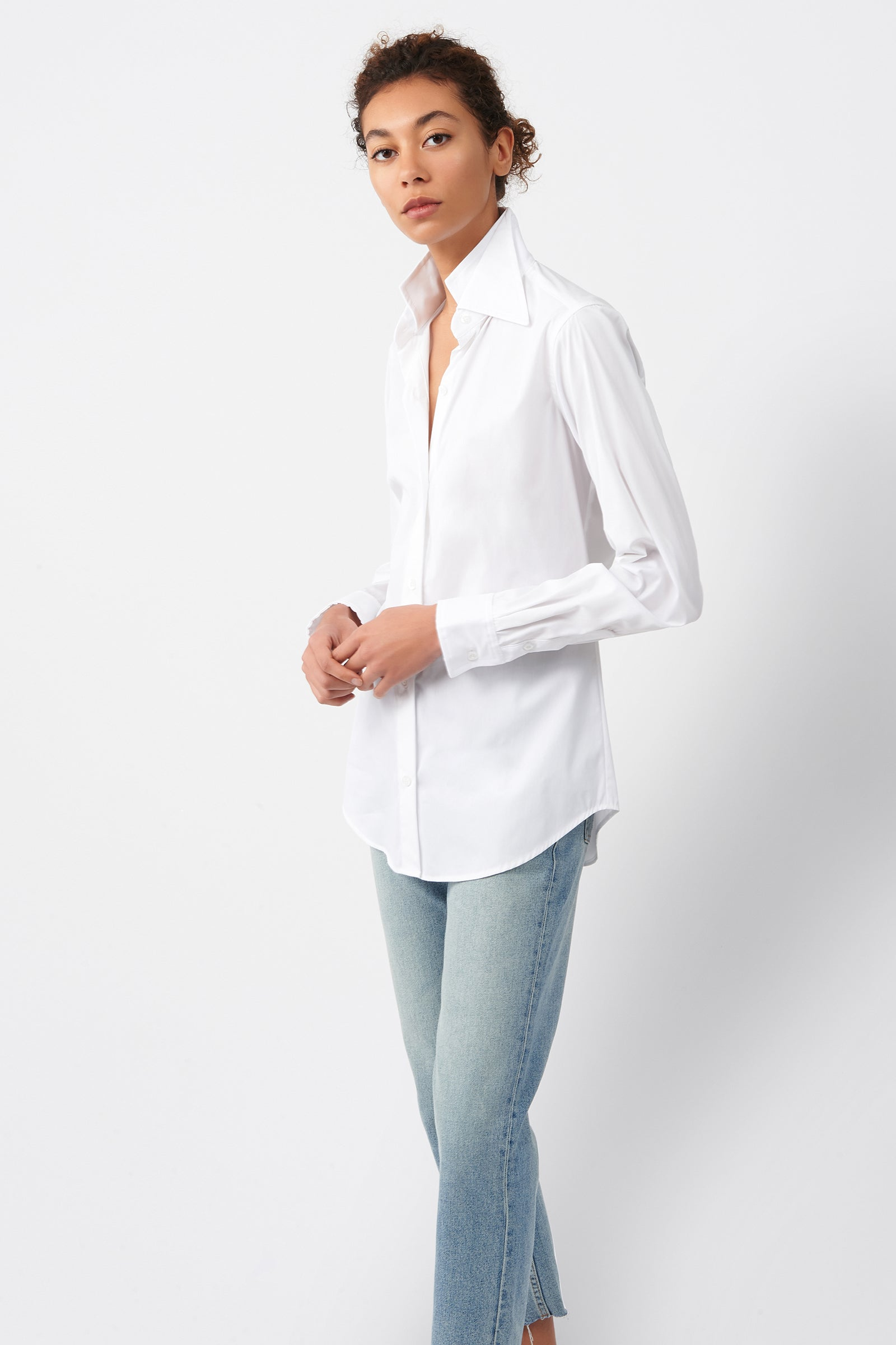 Kal Rieman Double Collar Shirt in White Cotton on Model Front Side View