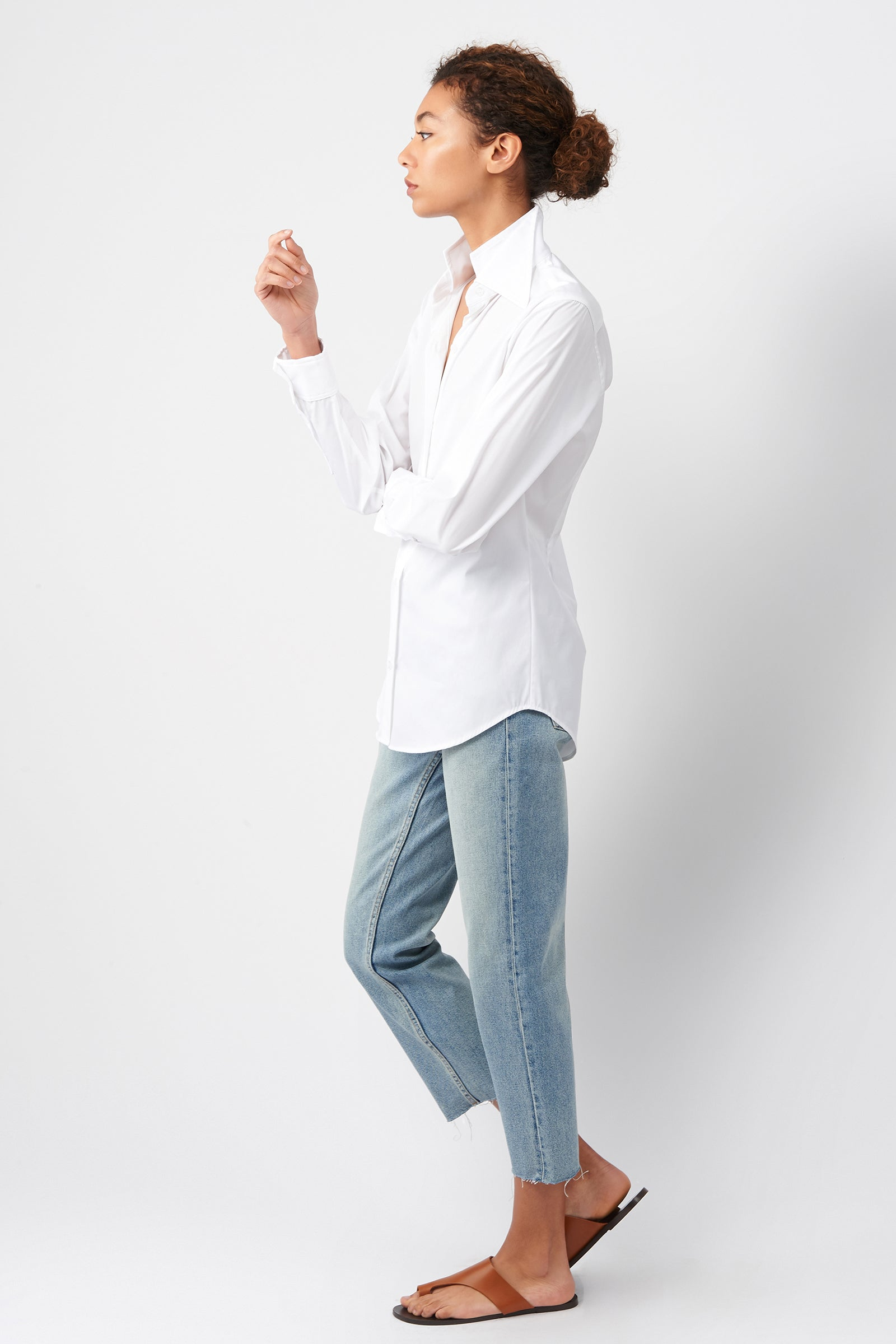 Kal Rieman Double Collar Shirt in White Cotton on Model Side View