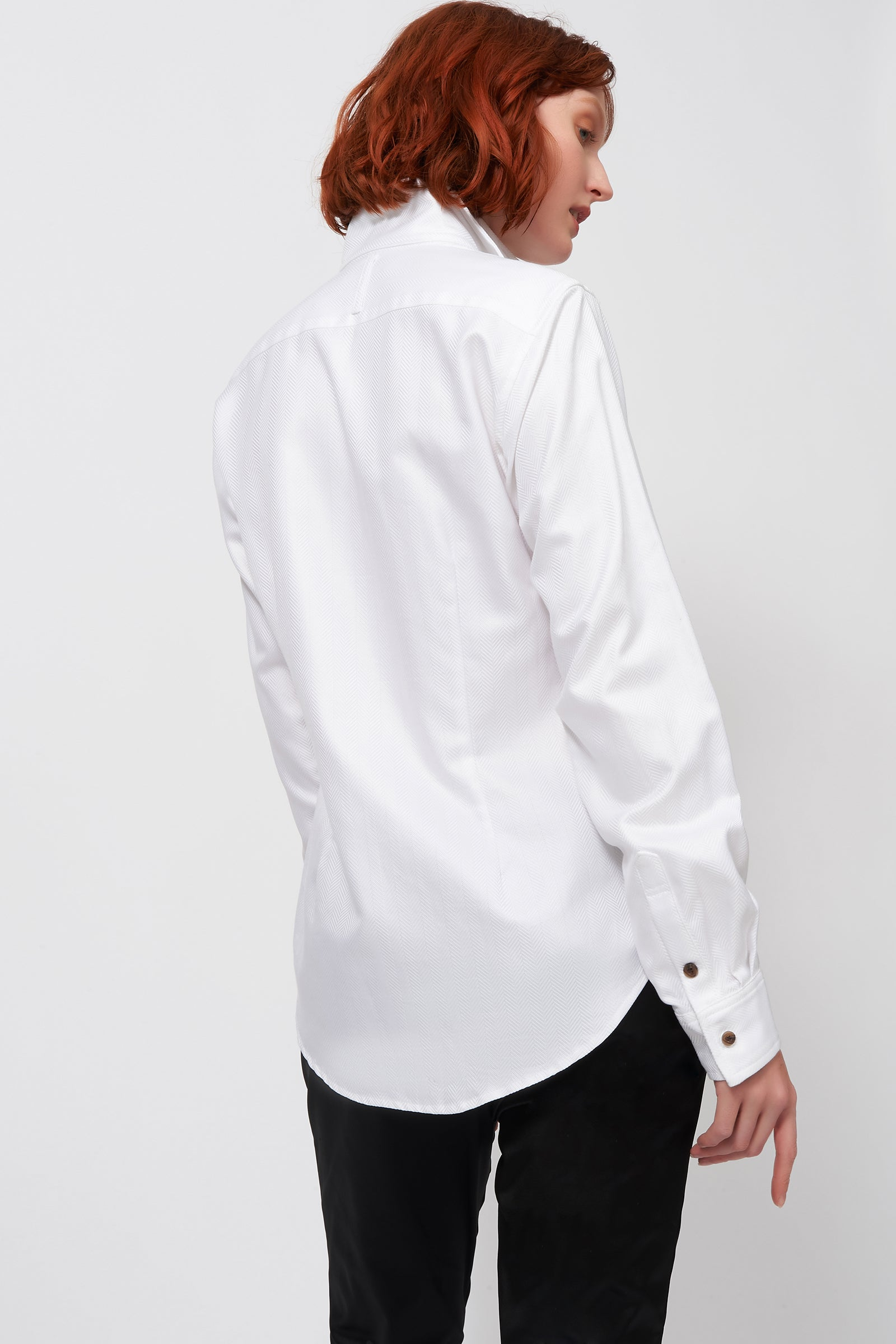 Kal Rieman Double Collar Shirt in White Herringbone on Model Back View