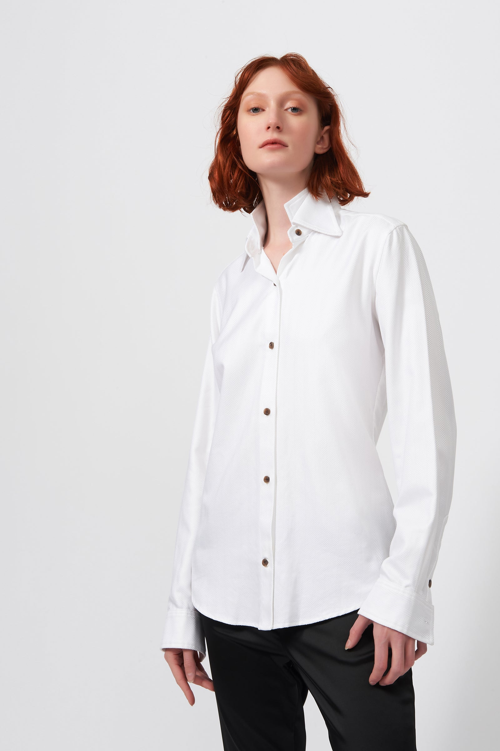 Kal Rieman Double Collar Shirt in White Herringbone on Model Front View