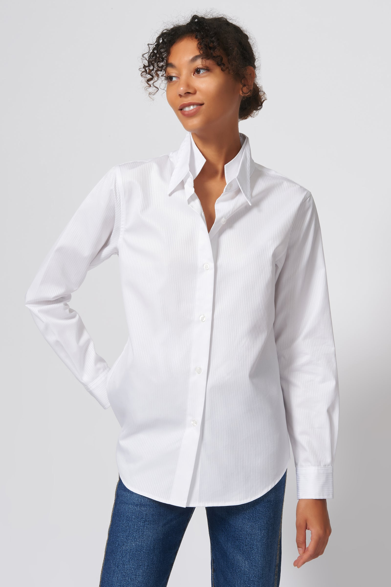 Kal Rieman Double Collar Shirt in White Satin Stripe on Model Front View
