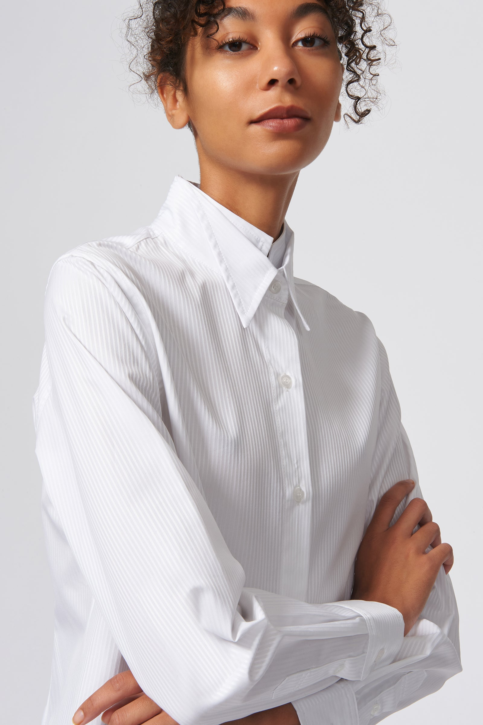 Kal Rieman Double Collar Shirt in White Satin Stripe on Model Close Up View