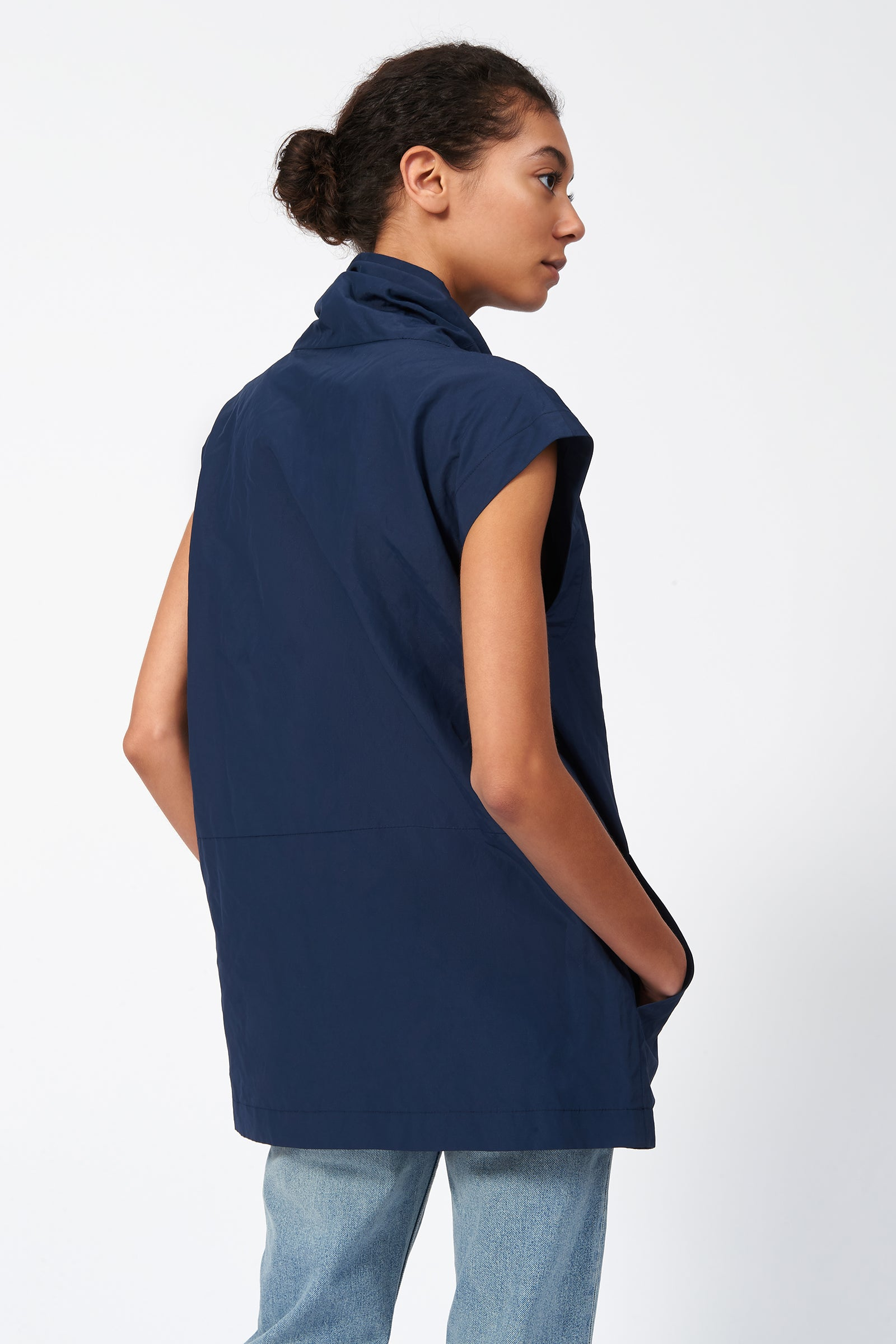 Kal Rieman Drawstring Pullover in Navy on Model Back View