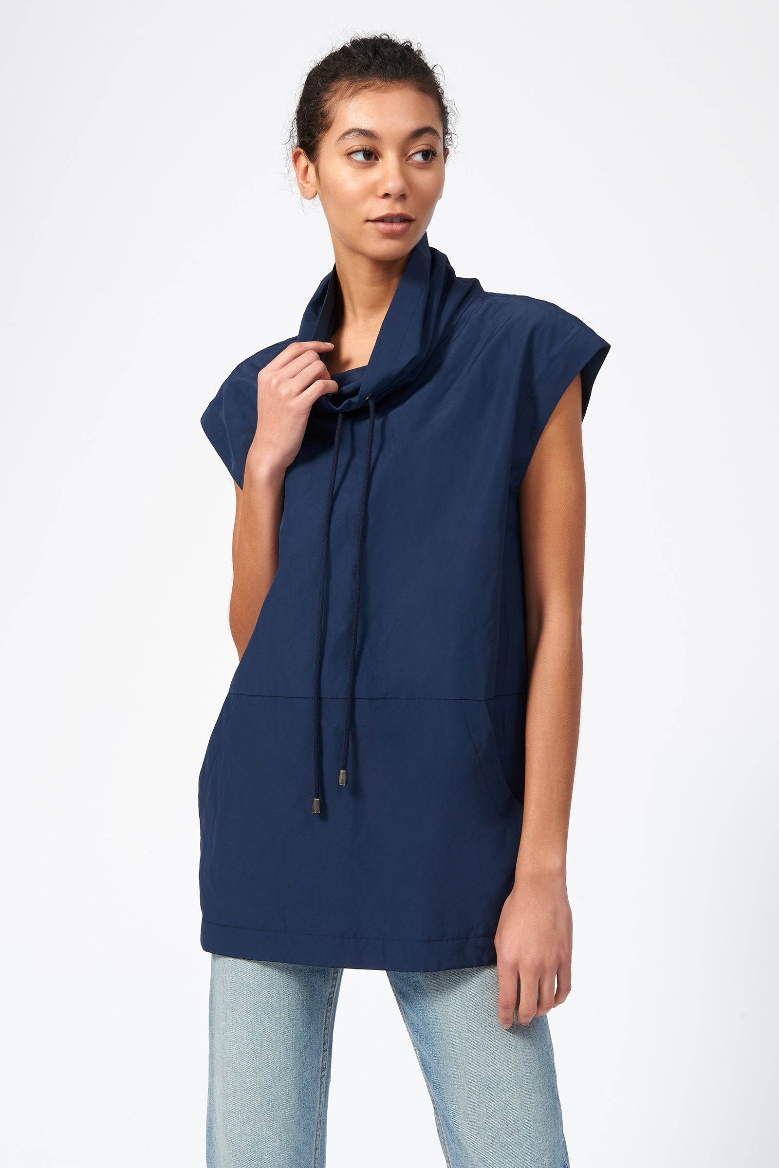 Kal Rieman Drawstring Pullover in Navy on Model Front View