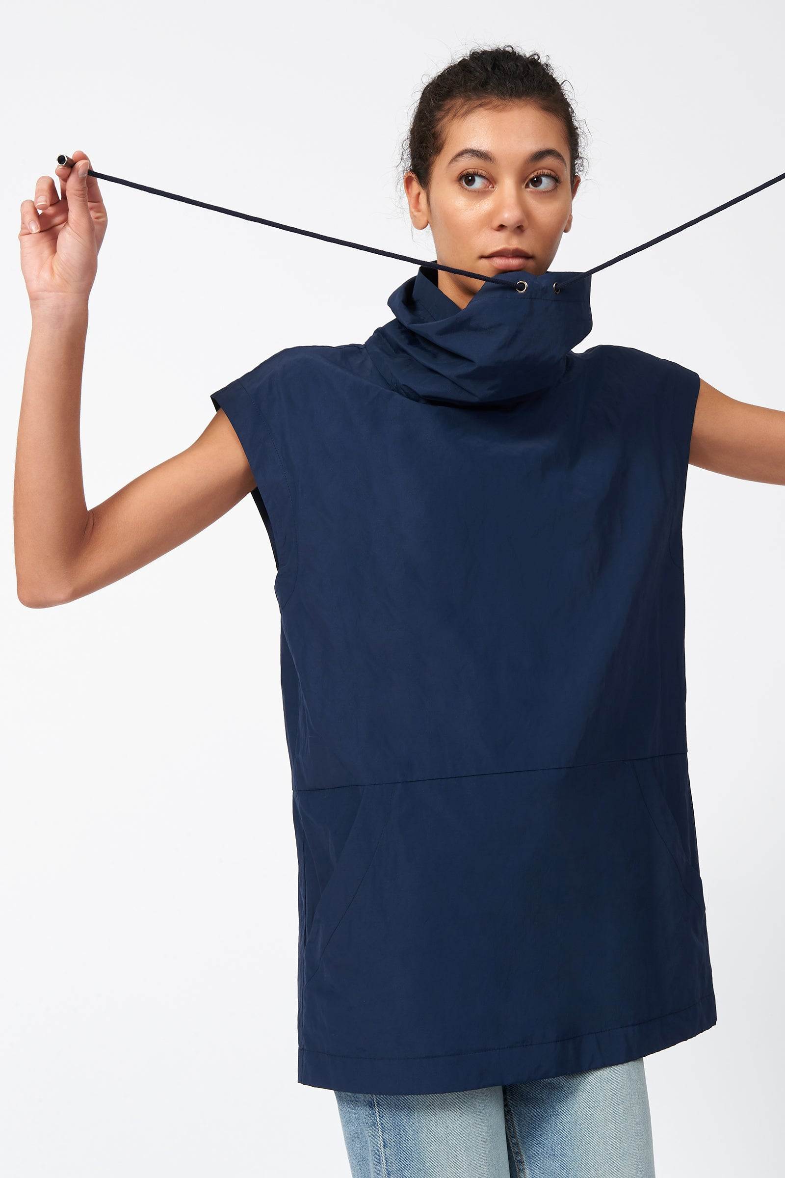 Kal Rieman Drawstring Pullover in Navy on Model Front Alternate View
