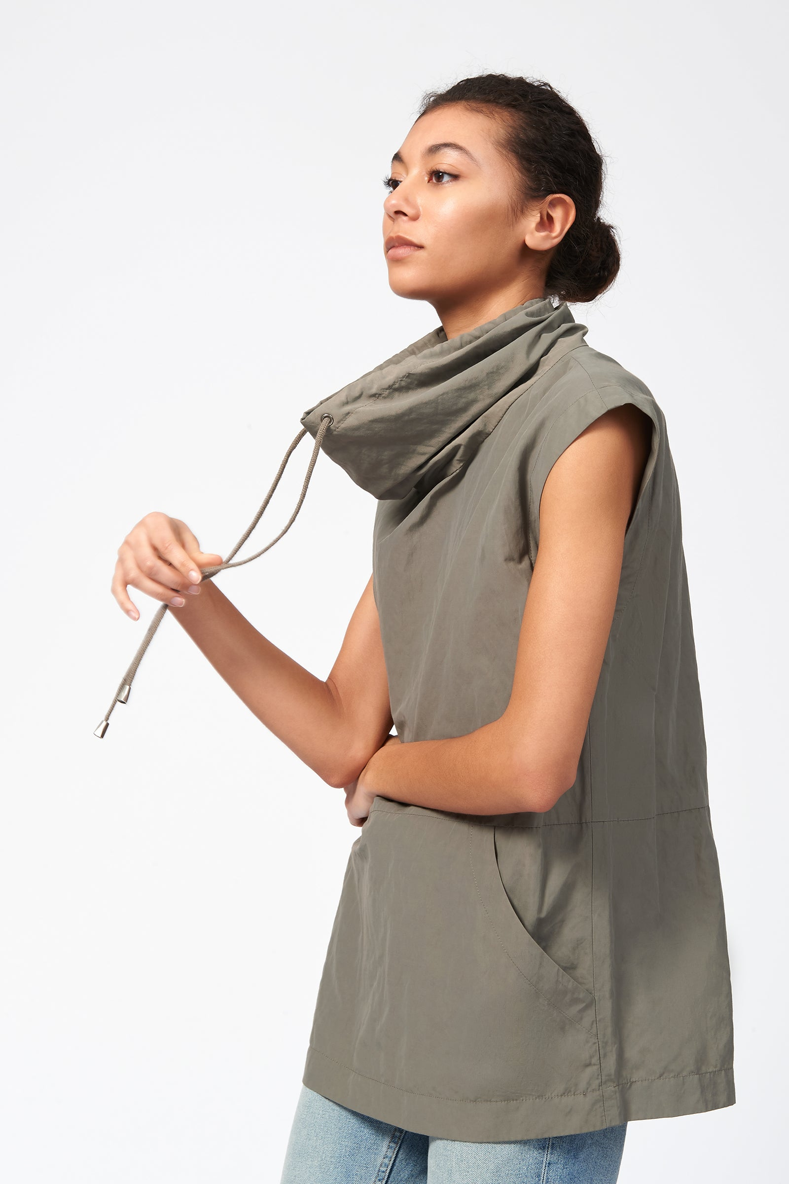 Kal Rieman Cotton Nylon Drawstring Pullover in Olive on Model Front Side View