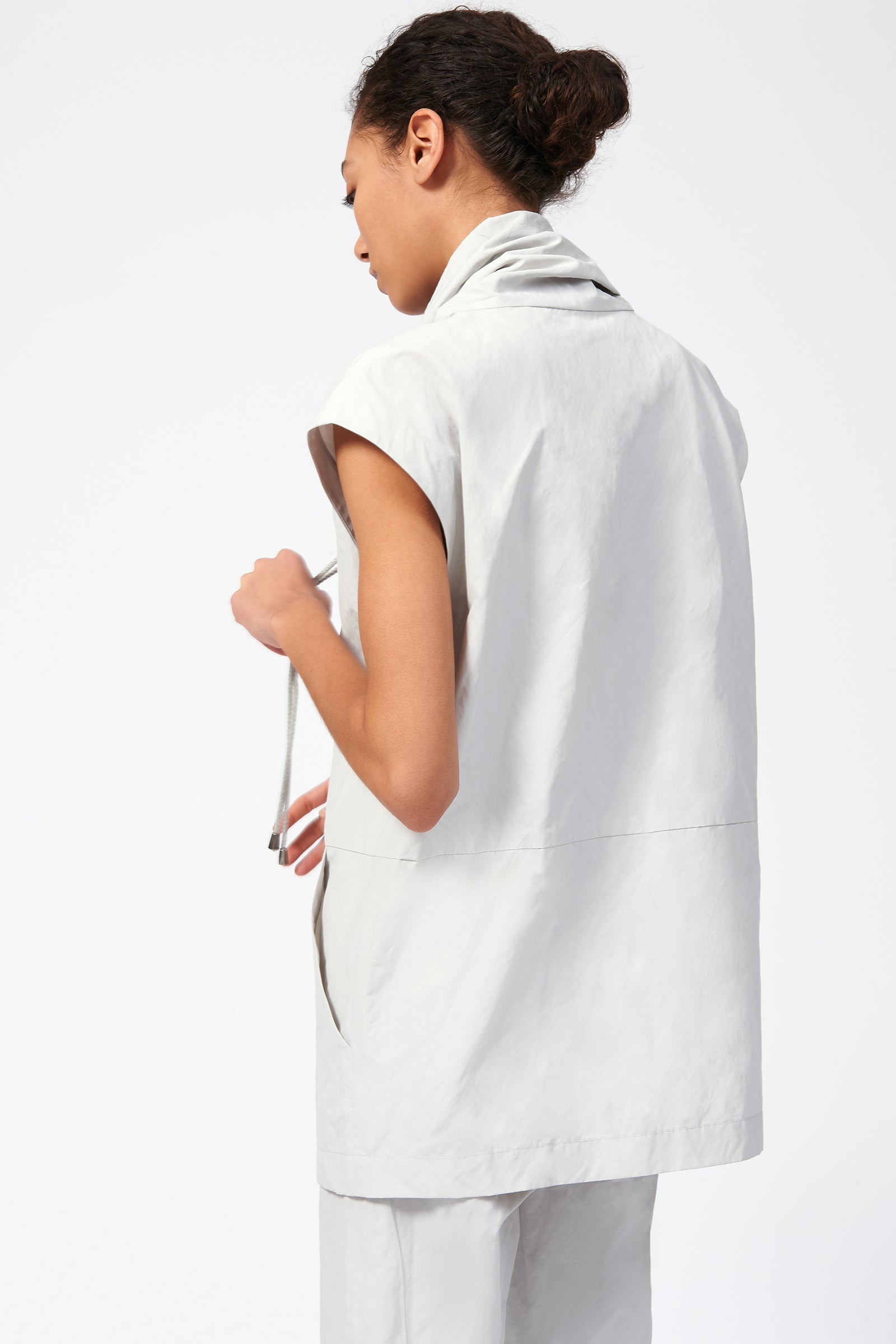 Kal Rieman Cotton Nylon Drawstring Pullover in Stone on Model Back View