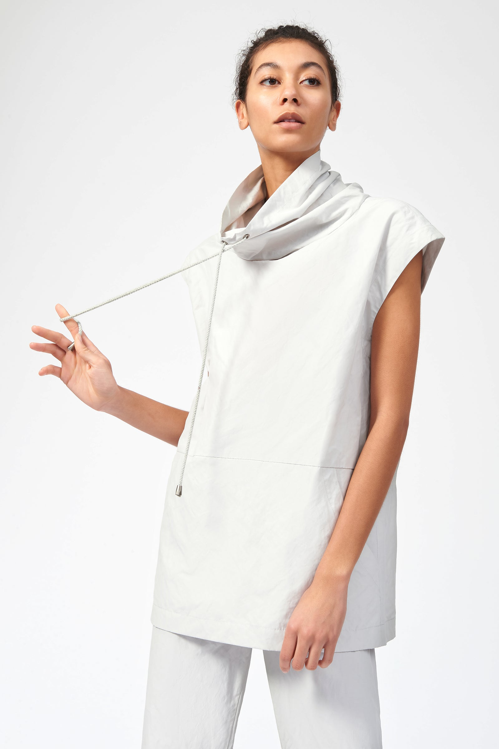 Kal Rieman Cotton Nylon Drawstring Pullover in Stone on Model Front Side View