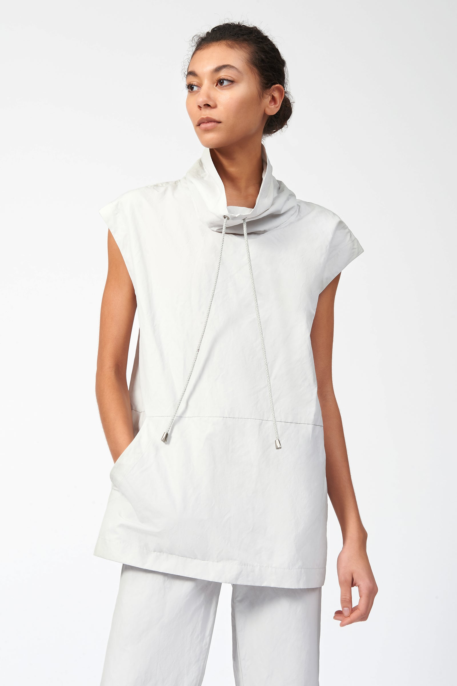 Kal Rieman Cotton Nylon Drawstring Pullover in Stone on Model Front View